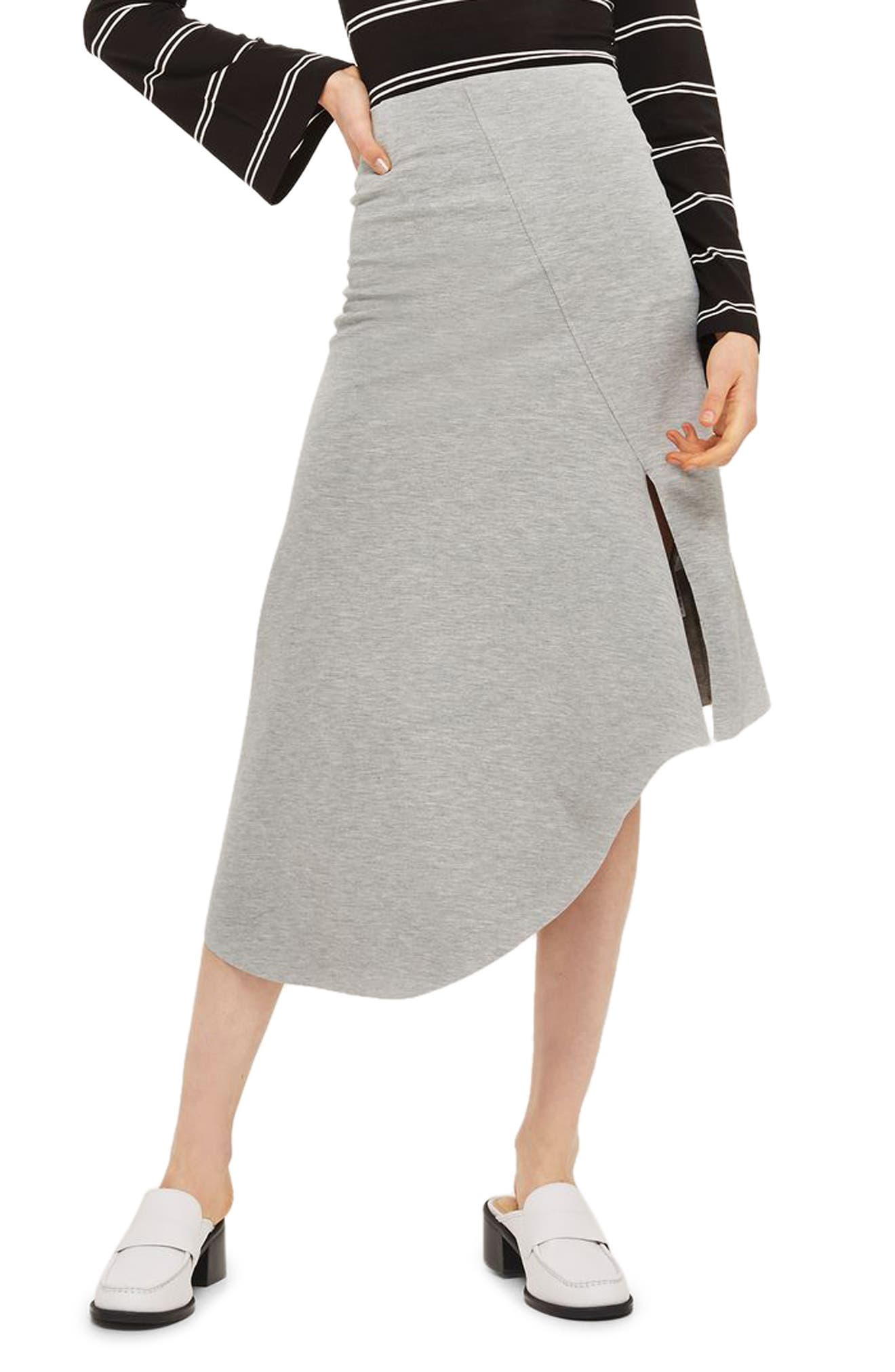 Split Asymmetric Jersey Midi Skirt,                             Main thumbnail 1, color,                             020