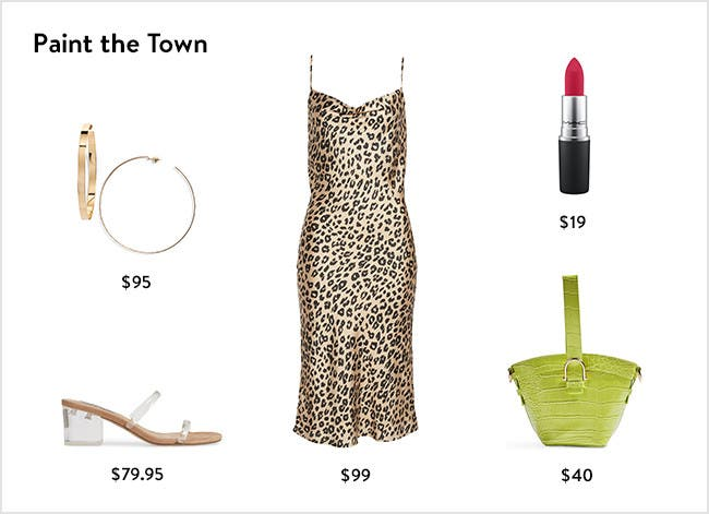 Paint the town: women's night-out clothing and accessories.