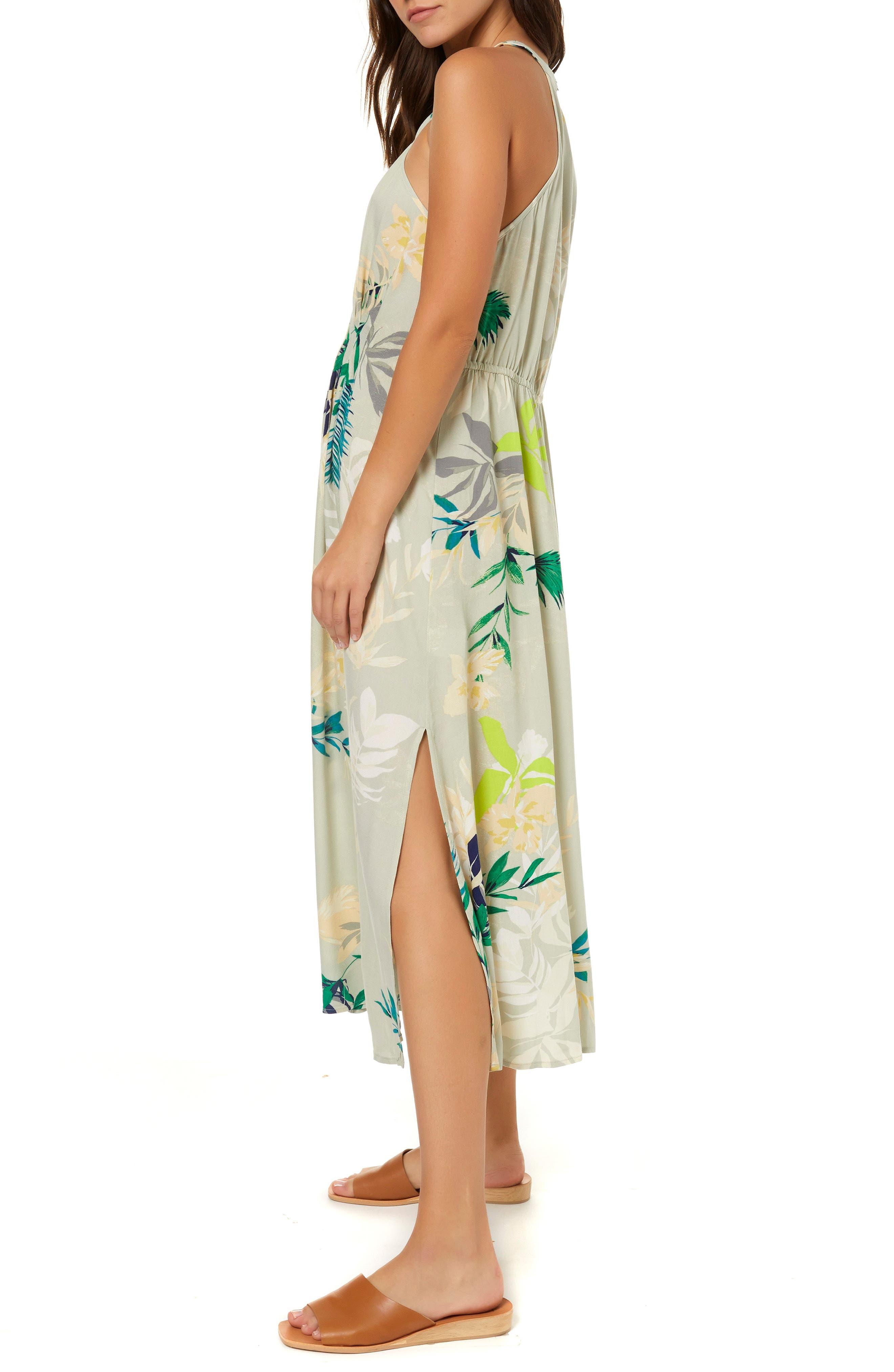Byronne Floral Print Woven Midi Dress,                             Alternate thumbnail 3, color,                             MULTI COLORED