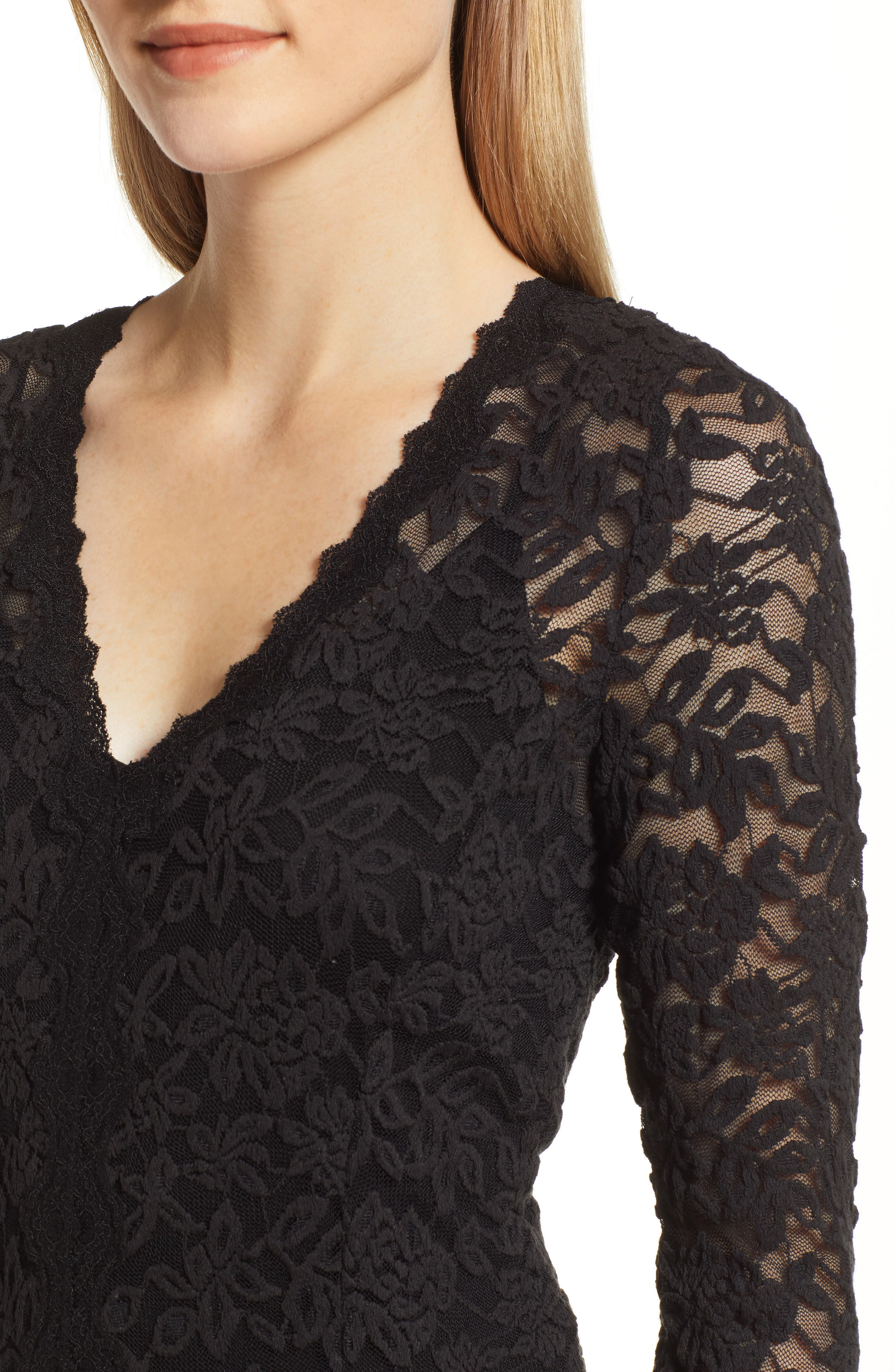 Delicia Fit & Flare Lace Dress,                             Alternate thumbnail 4, color,                             BLACK