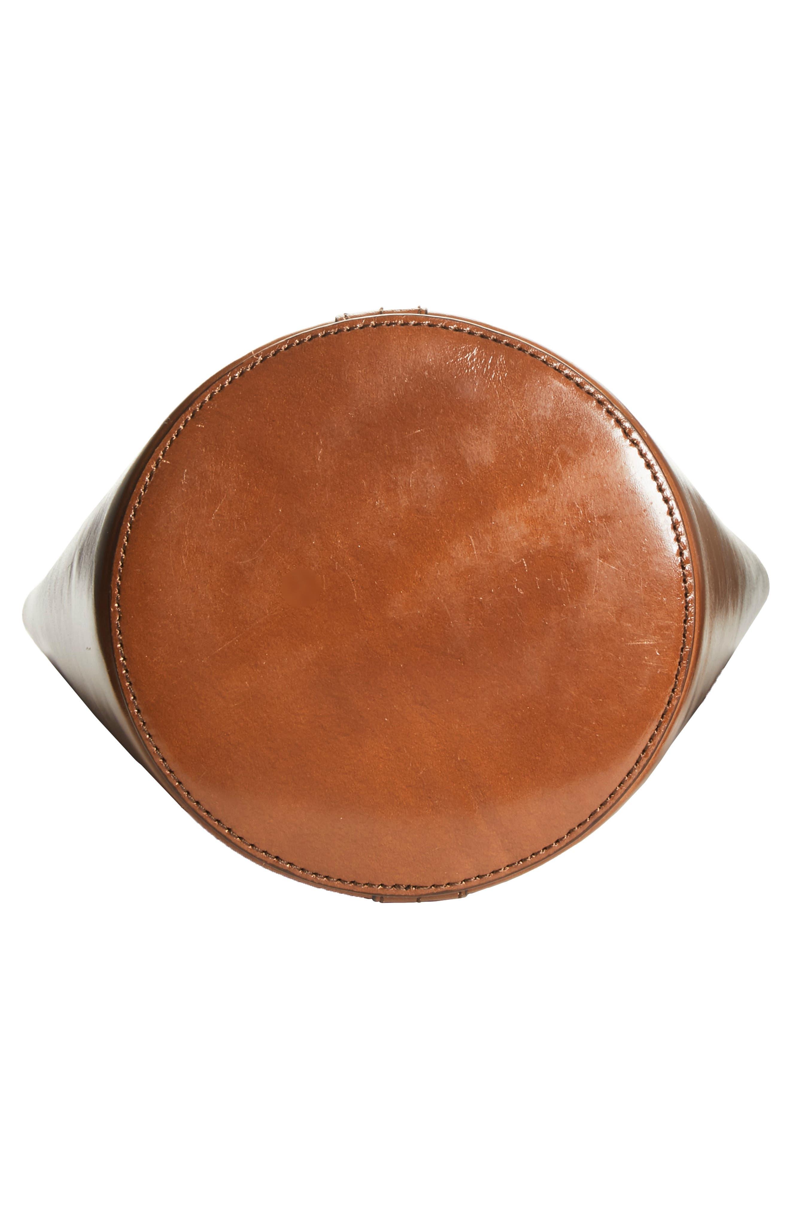 Small Leather Bucket Bag,                             Alternate thumbnail 6, color,                             SADDLE/ SADDLE