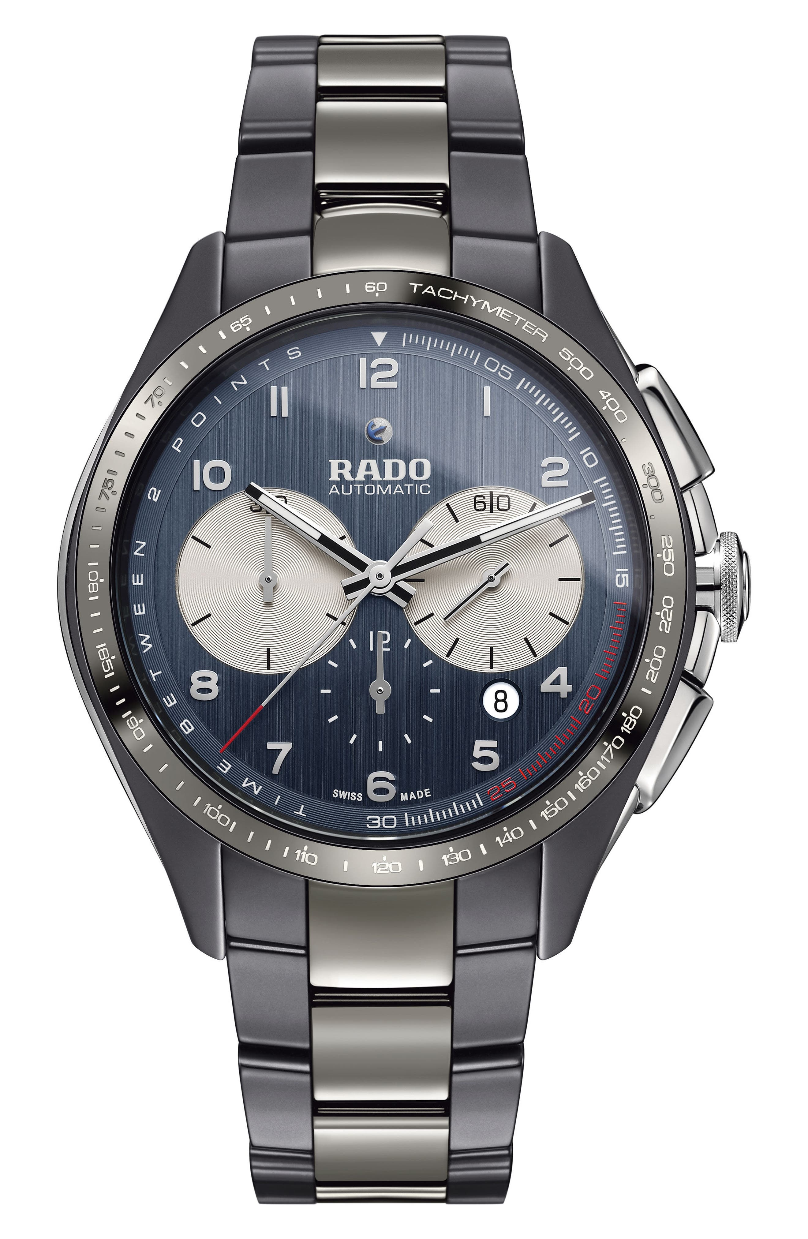 HyperChrome Ceramic Automatic Chronograph Bracelet Watch, 45mm,                         Main,                         color, SILVER/ BLUE/ GUNMETAL