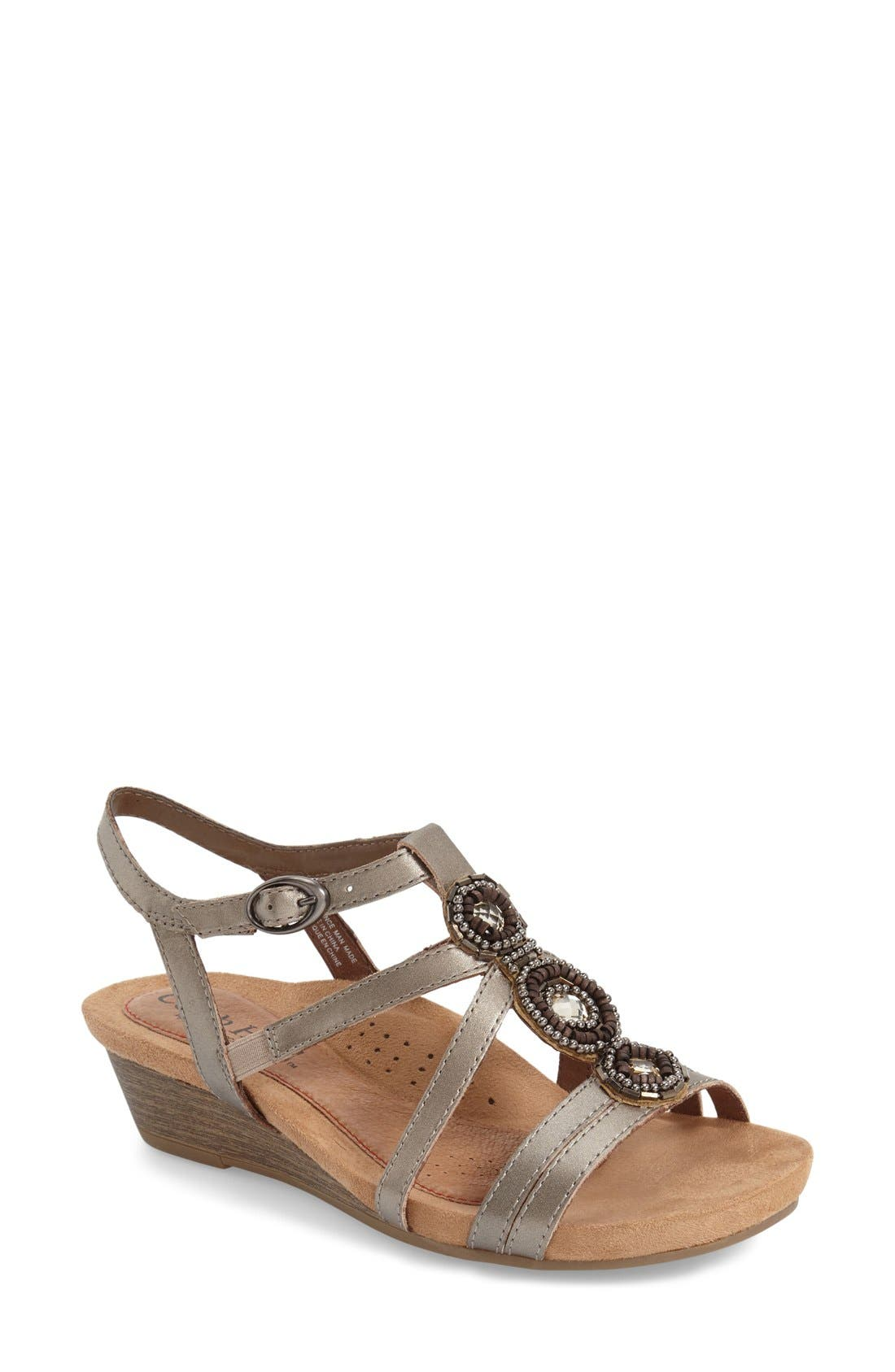 'Hannah' Leather Sandal,                             Main thumbnail 1, color,                             PEWTER LEATHER