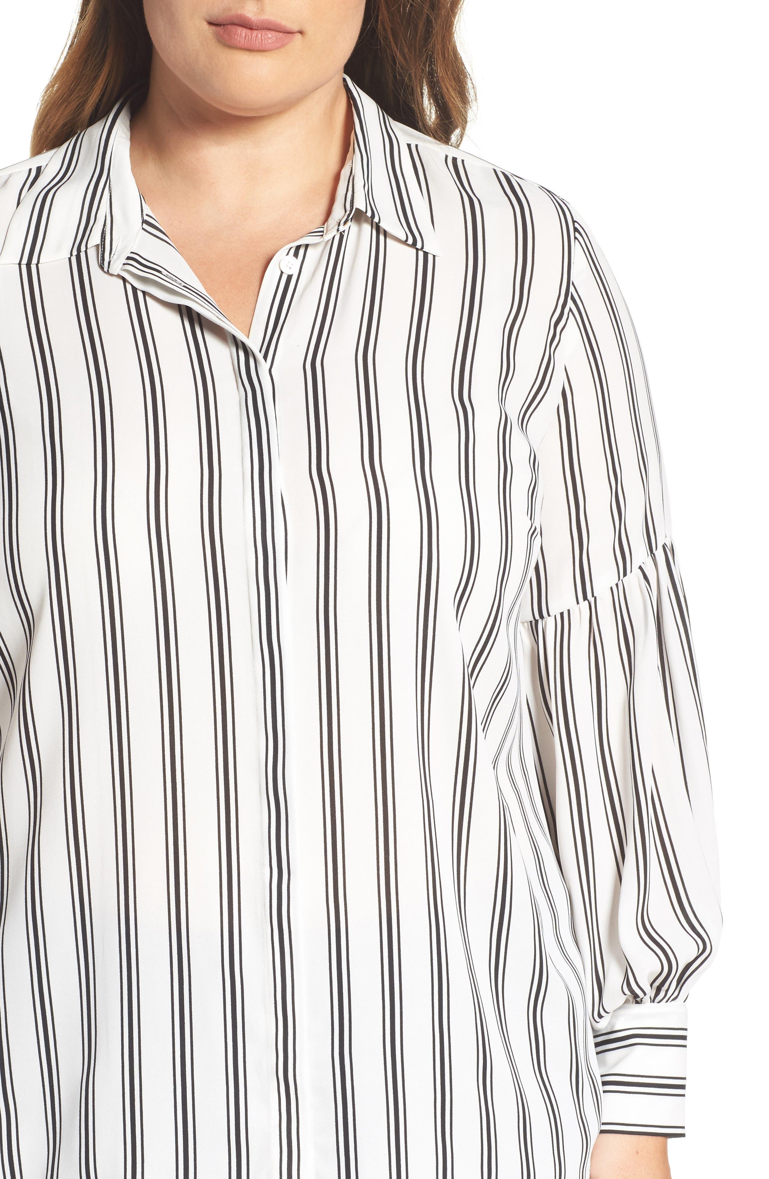 Stripe Puff Sleeve Blouse,                             Alternate thumbnail 4, color,                             901