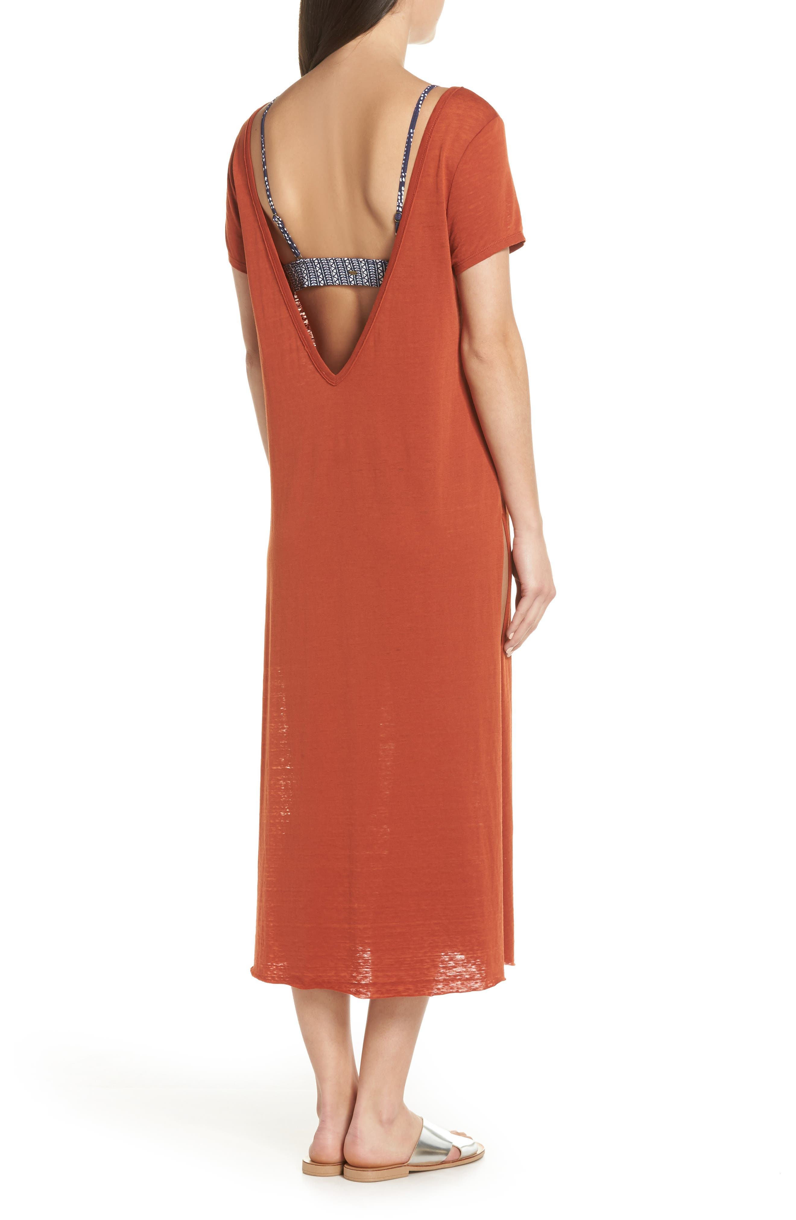 Easy Tee Burnout Cover-Up Dress,                             Alternate thumbnail 2, color,                             RUST PICANTE