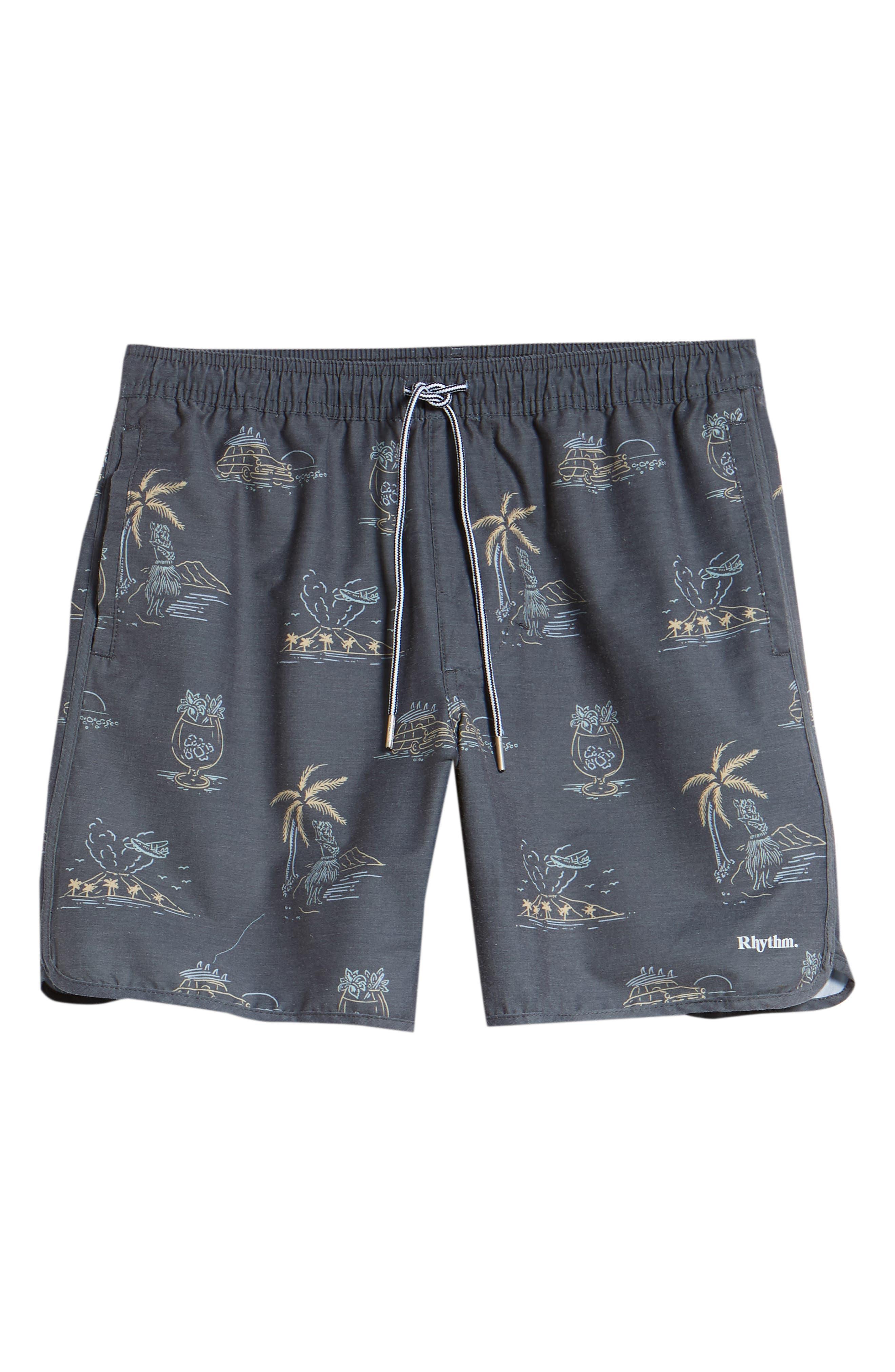 Maui Beach Swim Trunks,                             Alternate thumbnail 6, color,                             VINTAGE BLACK