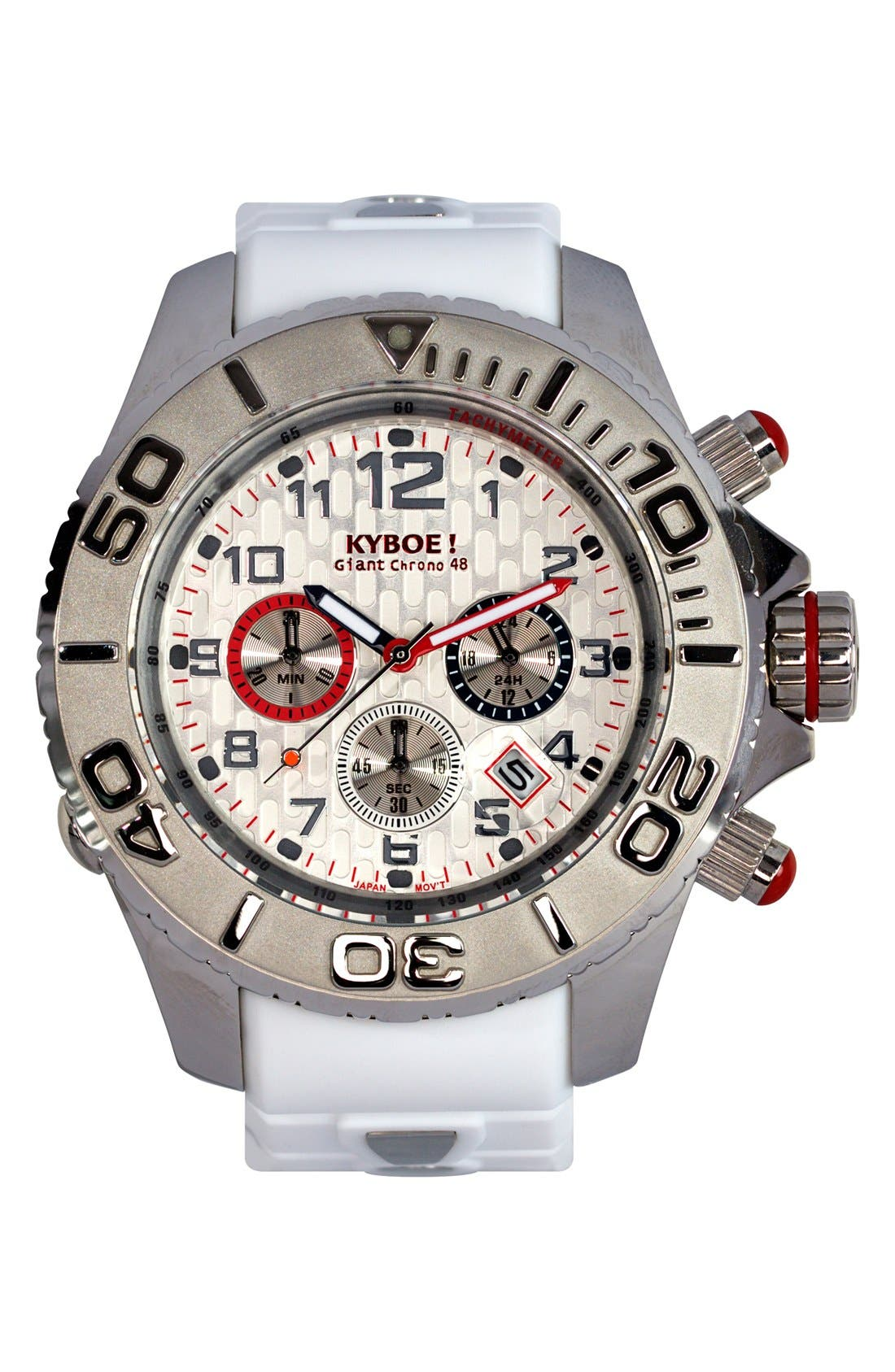 'Empire' Chronograph Silicone Strap Watch, 48mm,                             Main thumbnail 1, color,                             WHITE/ SILVER