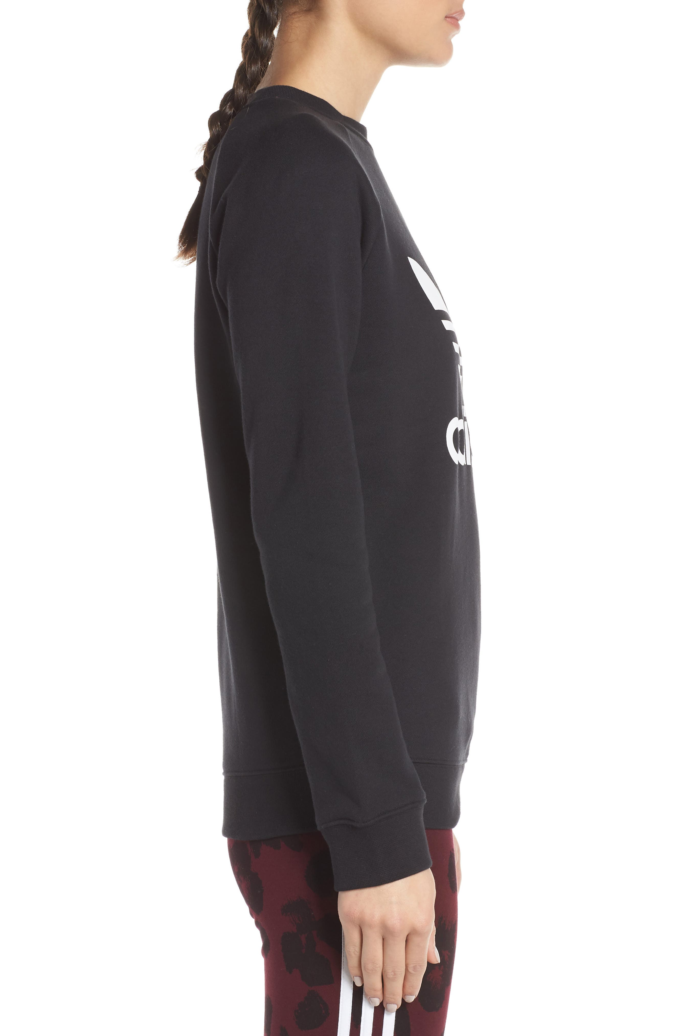 ADIDAS ORIGINALS,                             Trefoil Sweatshirt,                             Alternate thumbnail 3, color,                             BLACK