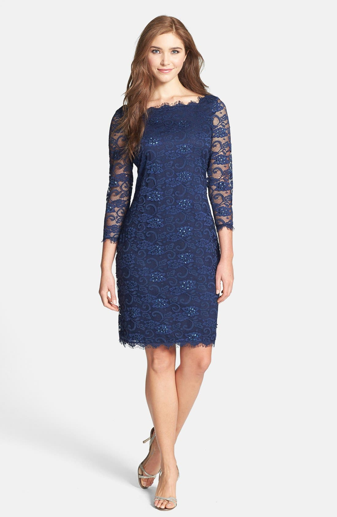 Embellished Lace Sheath Dress,                             Alternate thumbnail 3, color,                             410