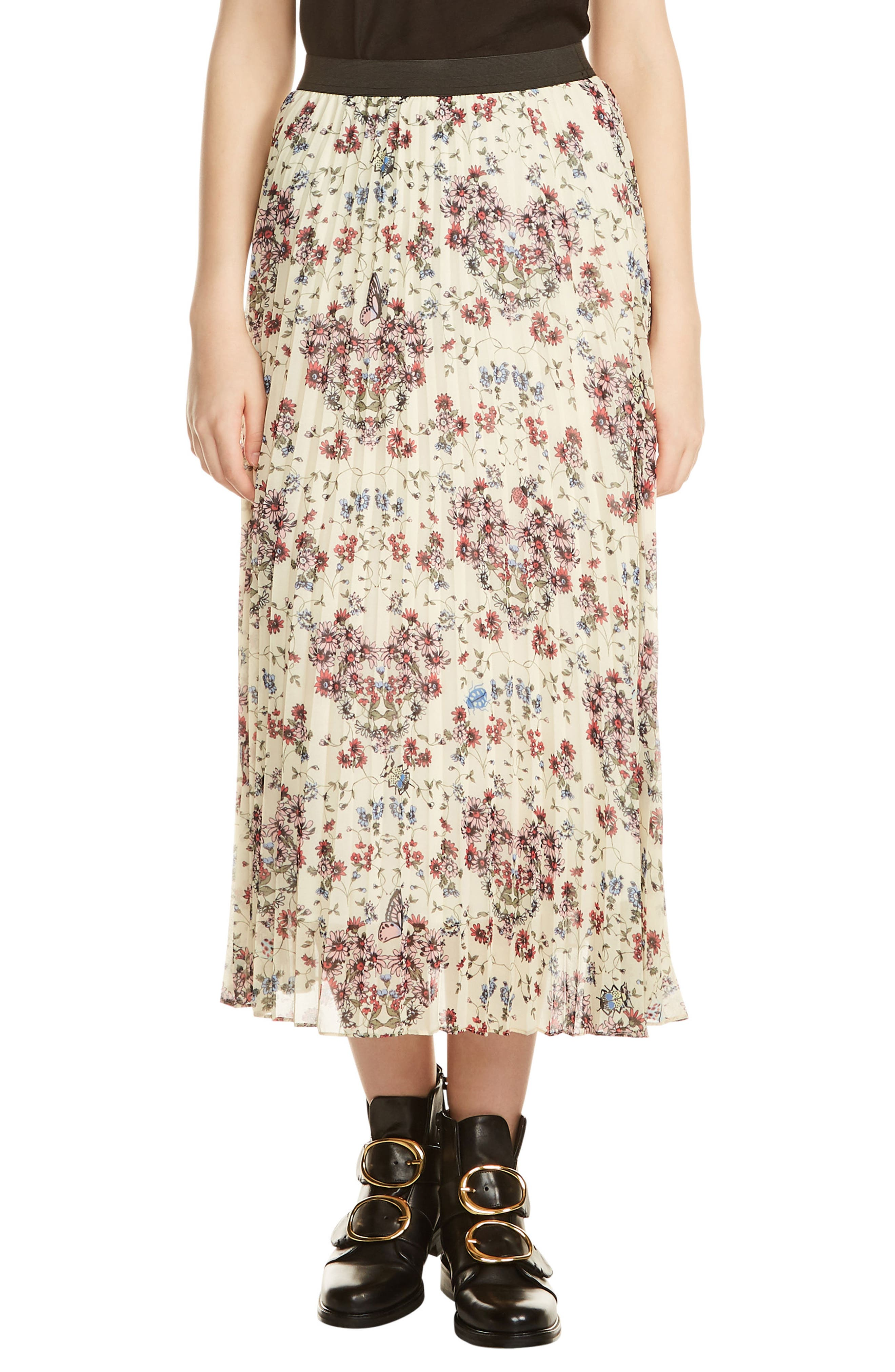 Floral Pleated Midi Skirt,                             Main thumbnail 1, color,                             900
