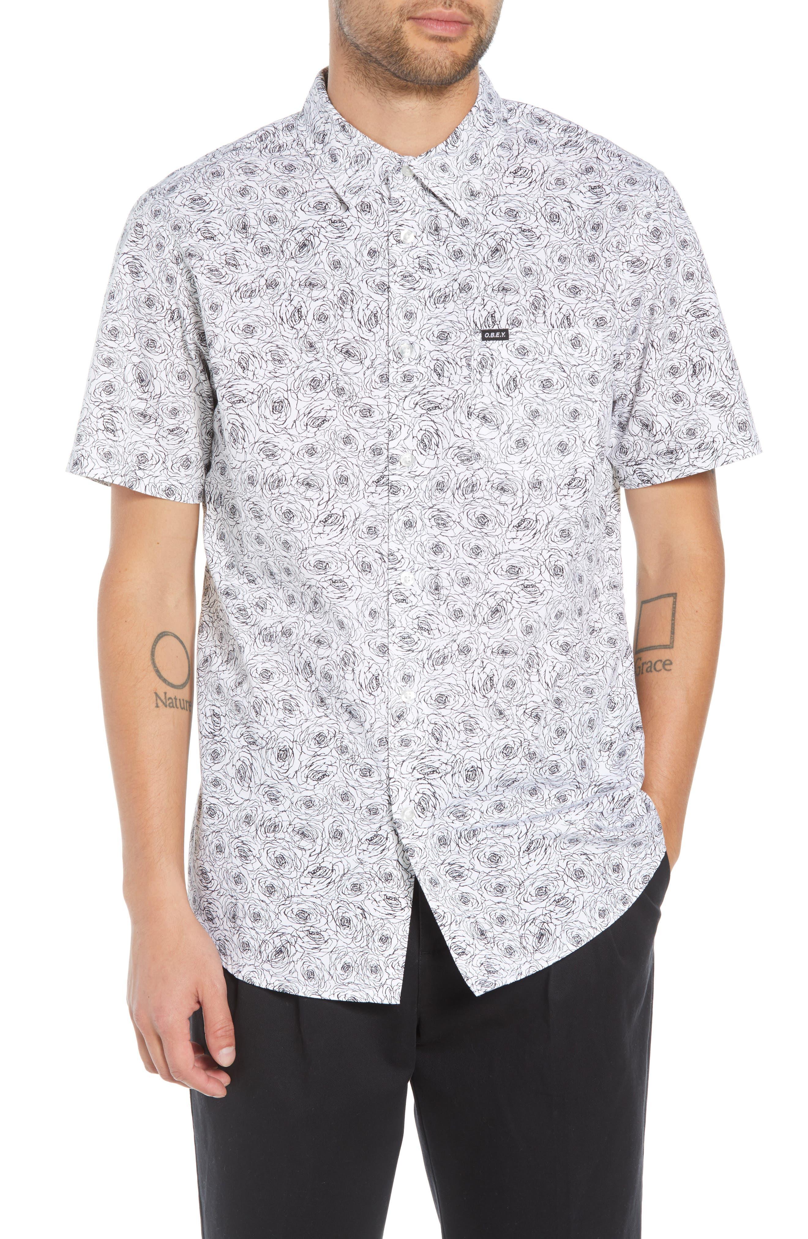 Rosie Print Woven Shirt,                             Main thumbnail 1, color,                             WHITE MULTI