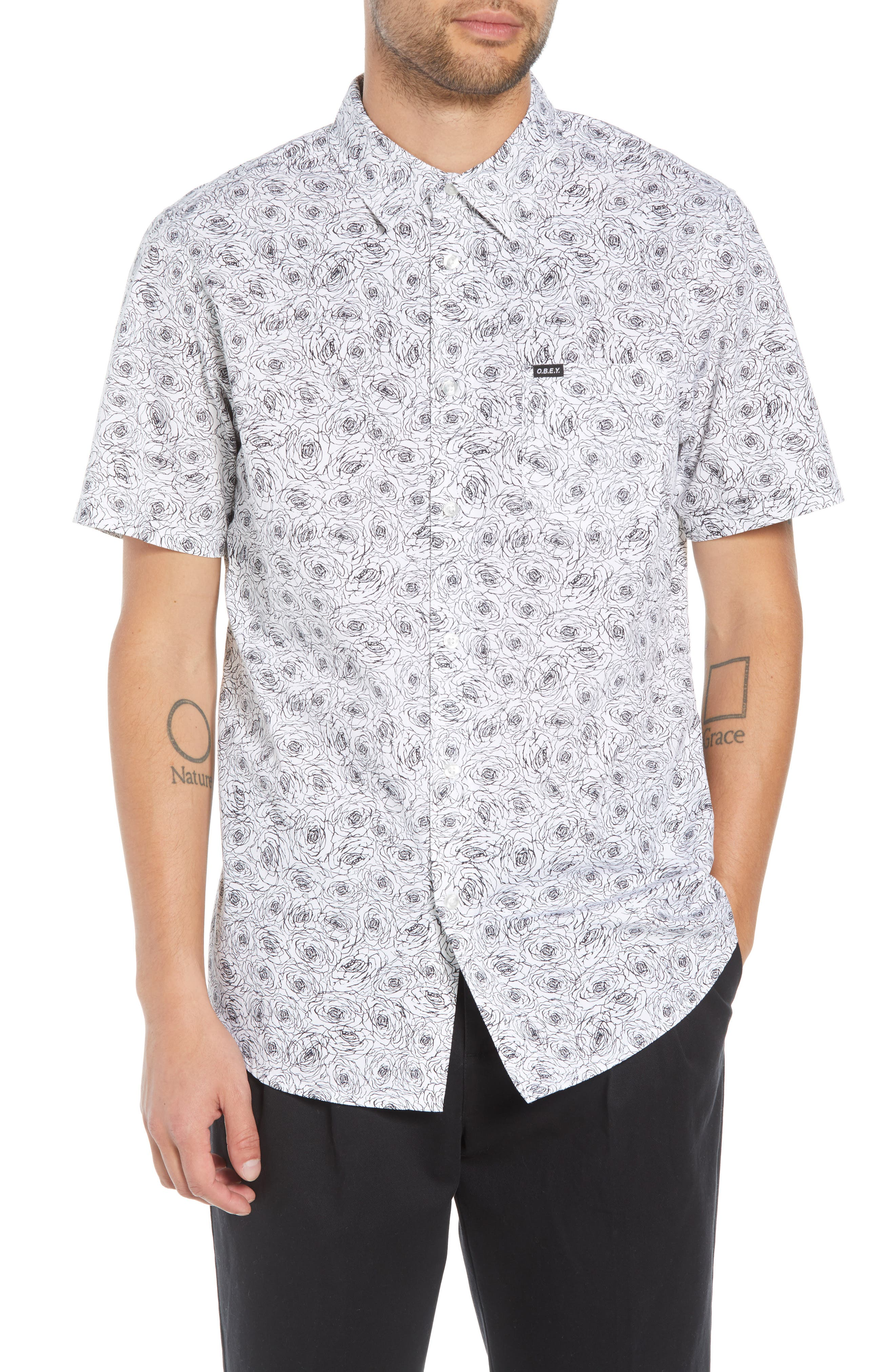 Rosie Print Woven Shirt,                         Main,                         color, WHITE MULTI