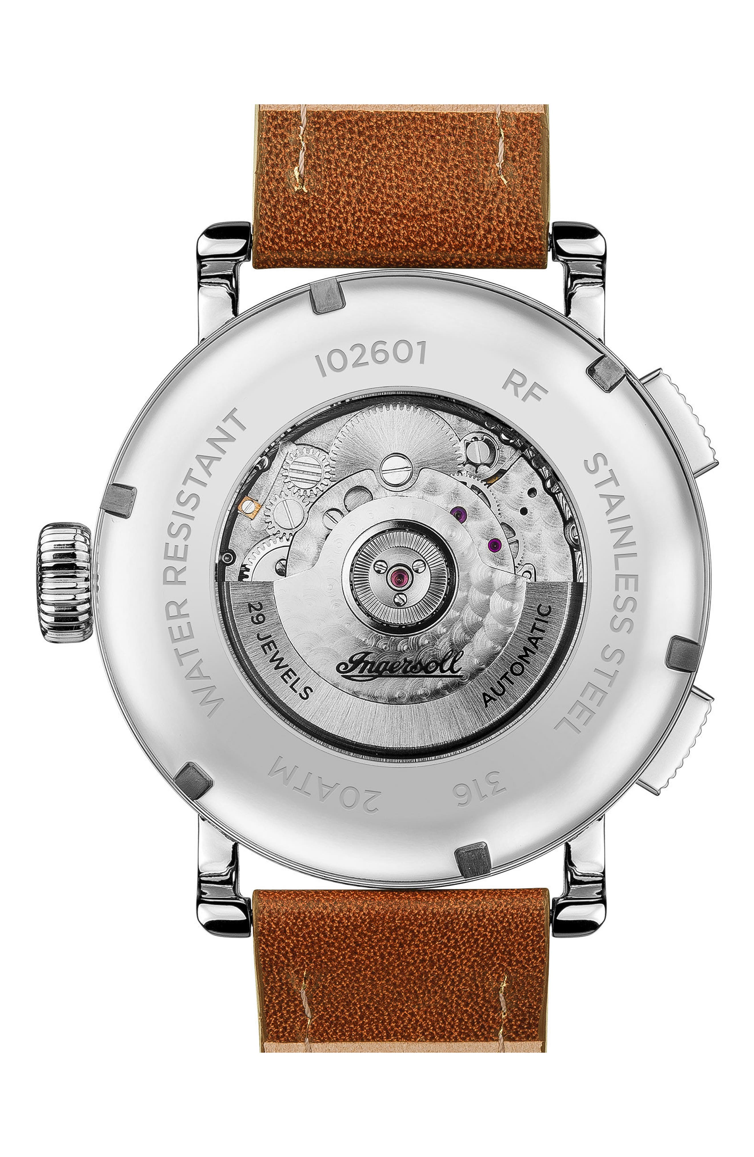 Ingersoll Bloch Open Heart Automatic Multifunction Leather Strap Watch, 45mm,                             Alternate thumbnail 5, color,