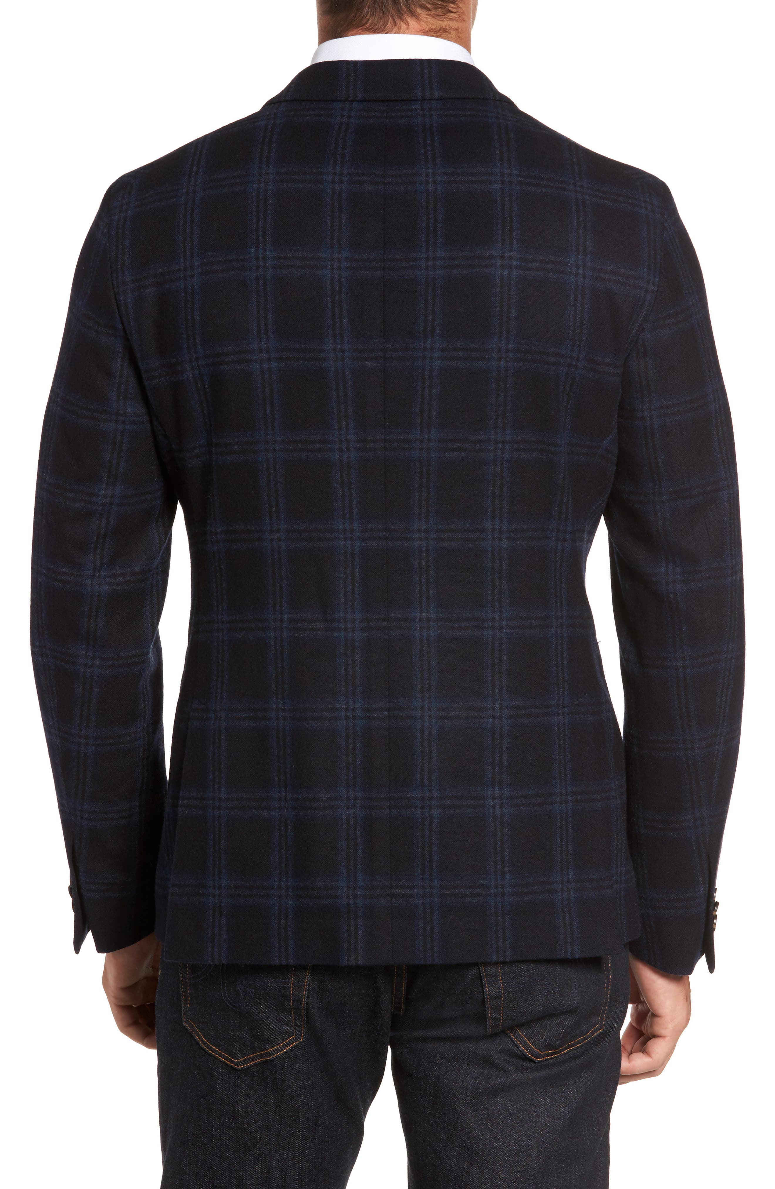 Classic Fit Windowpane Wool & Cashmere Jersey Sport Coat,                             Alternate thumbnail 2, color,                             001