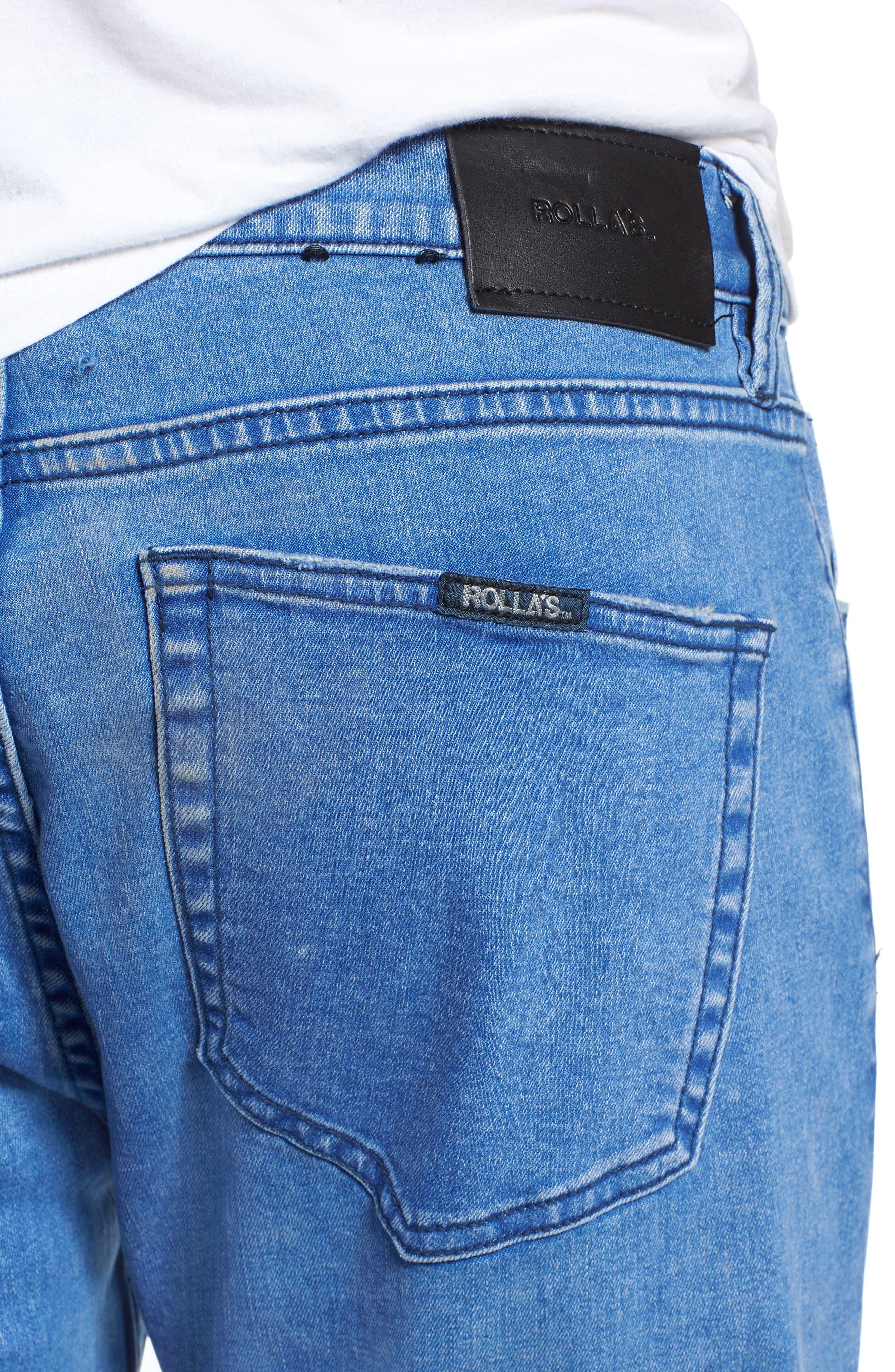 Rollies Slim Fit Jeans,                             Alternate thumbnail 4, color,                             BOLD BLUE