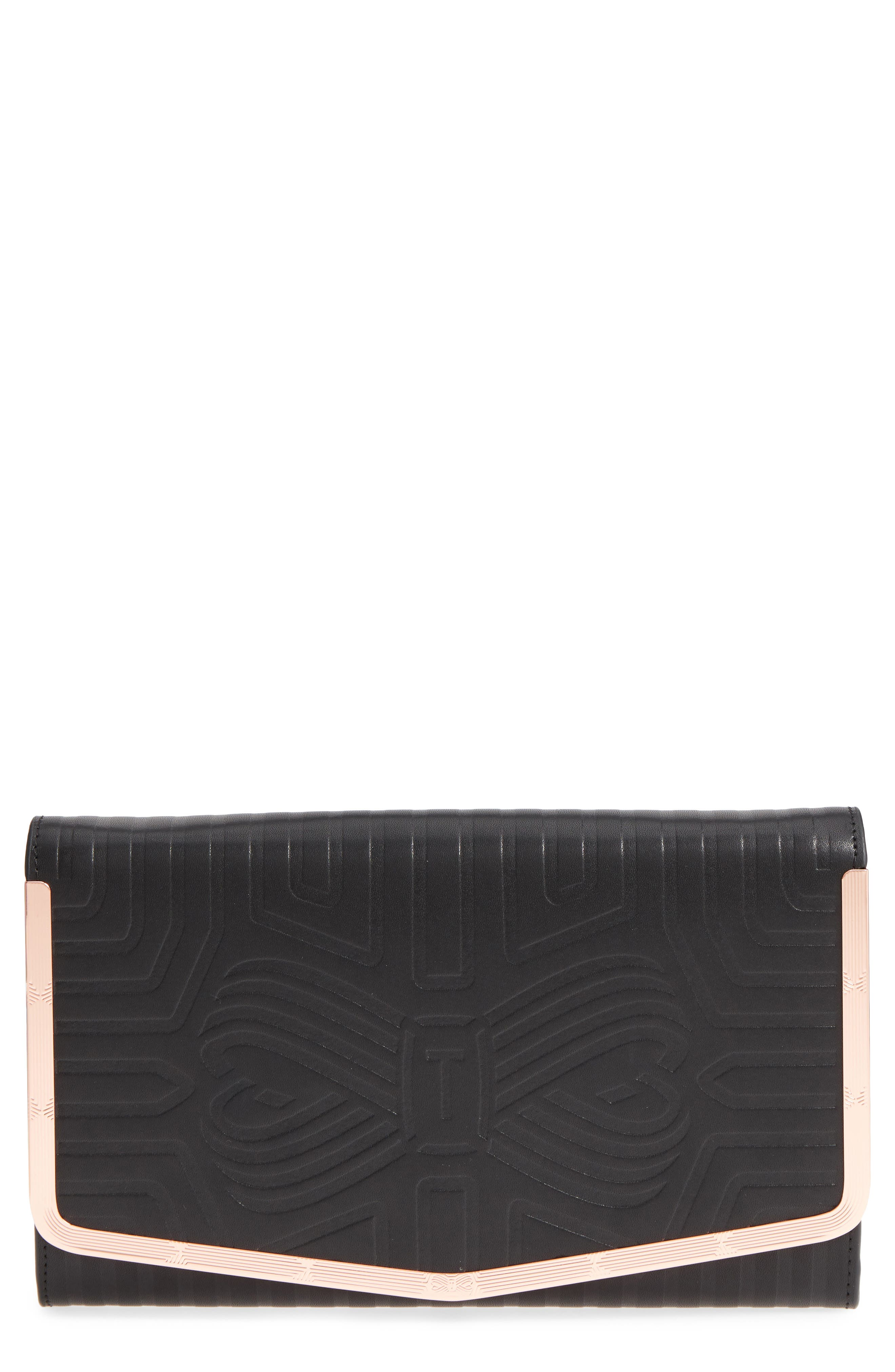 Jenaa Embossed Bow Leather Clutch,                             Main thumbnail 1, color,