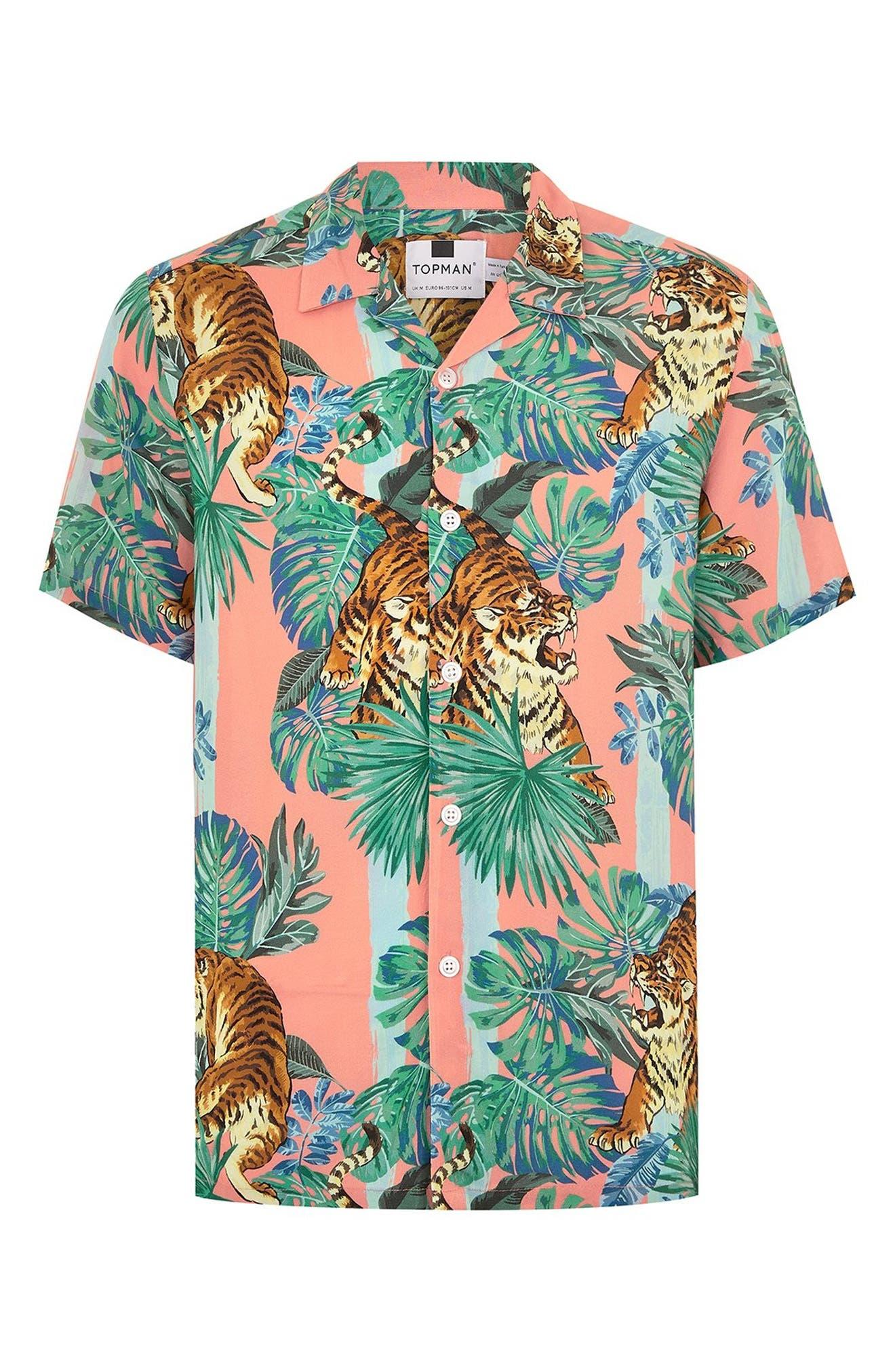 Tiger Print Shirt,                             Alternate thumbnail 4, color,                             PINK MULTI