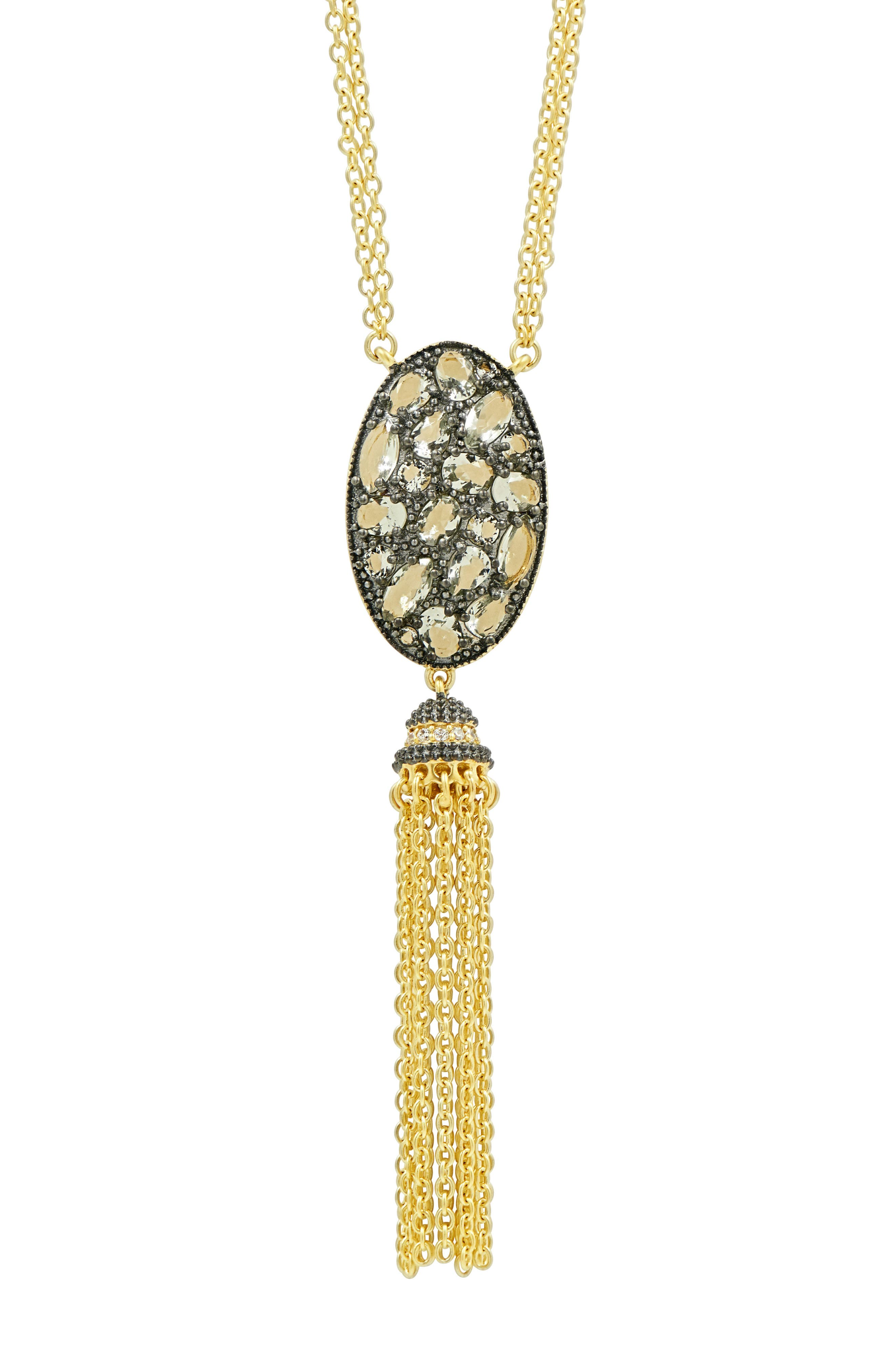 Rose Dor Tassel Pendant Necklace,                             Alternate thumbnail 2, color,                             BLACK/ GOLD