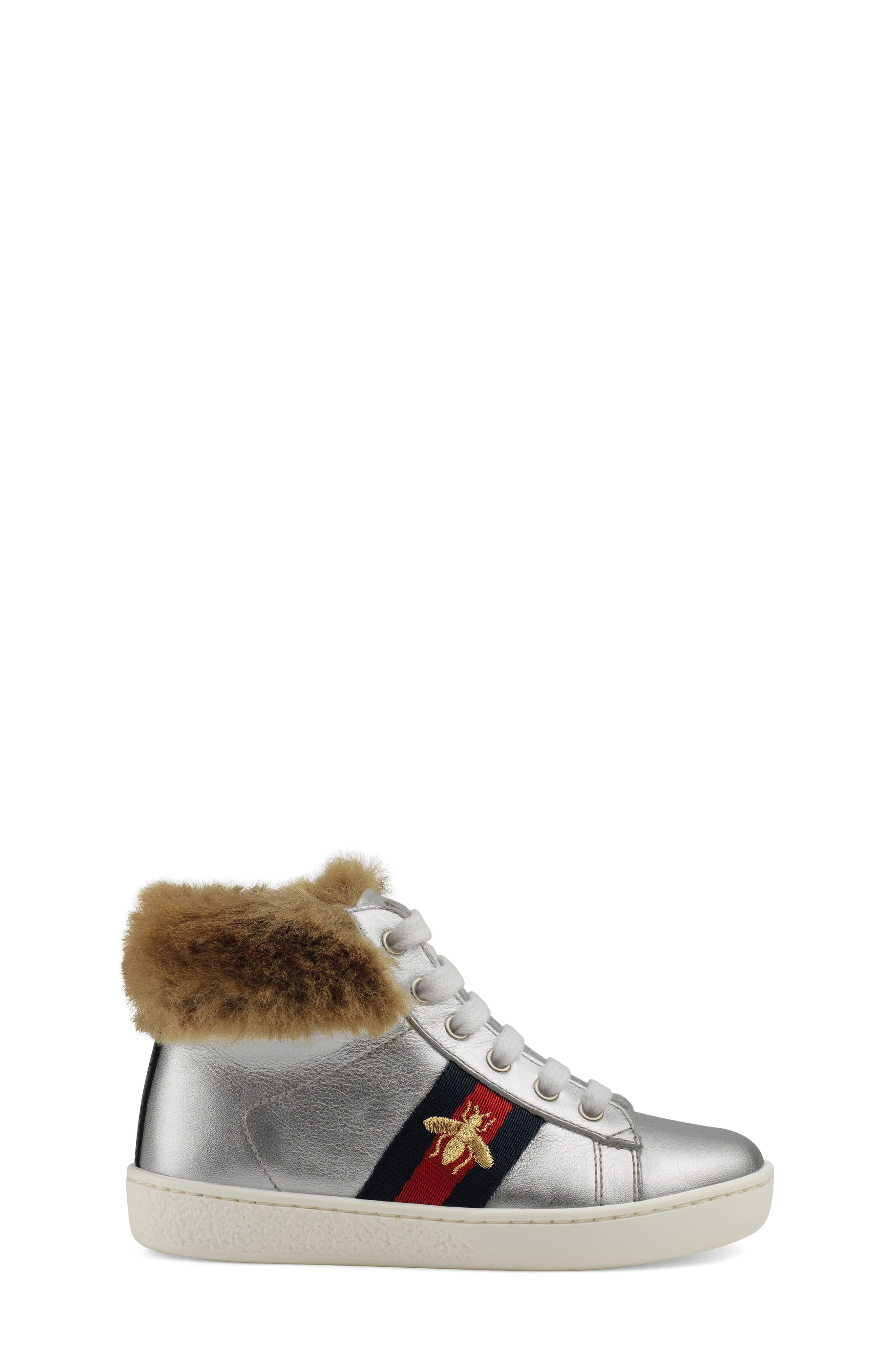 New Ace Faux Fur Trim High Top Sneaker,                             Alternate thumbnail 2, color,                             METALLIC SILVER