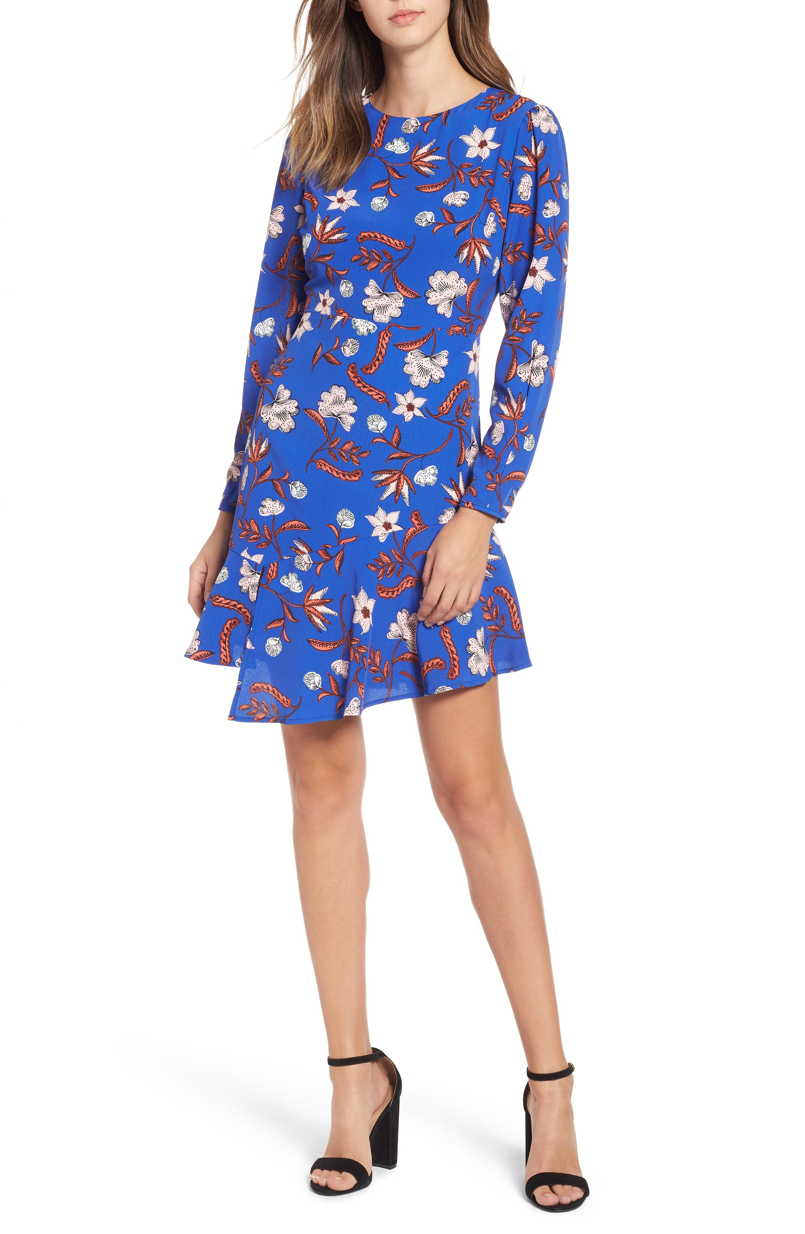 Asymmetrical Ruffle Hem Dress,                             Main thumbnail 1, color,                             BLUE FLORAL