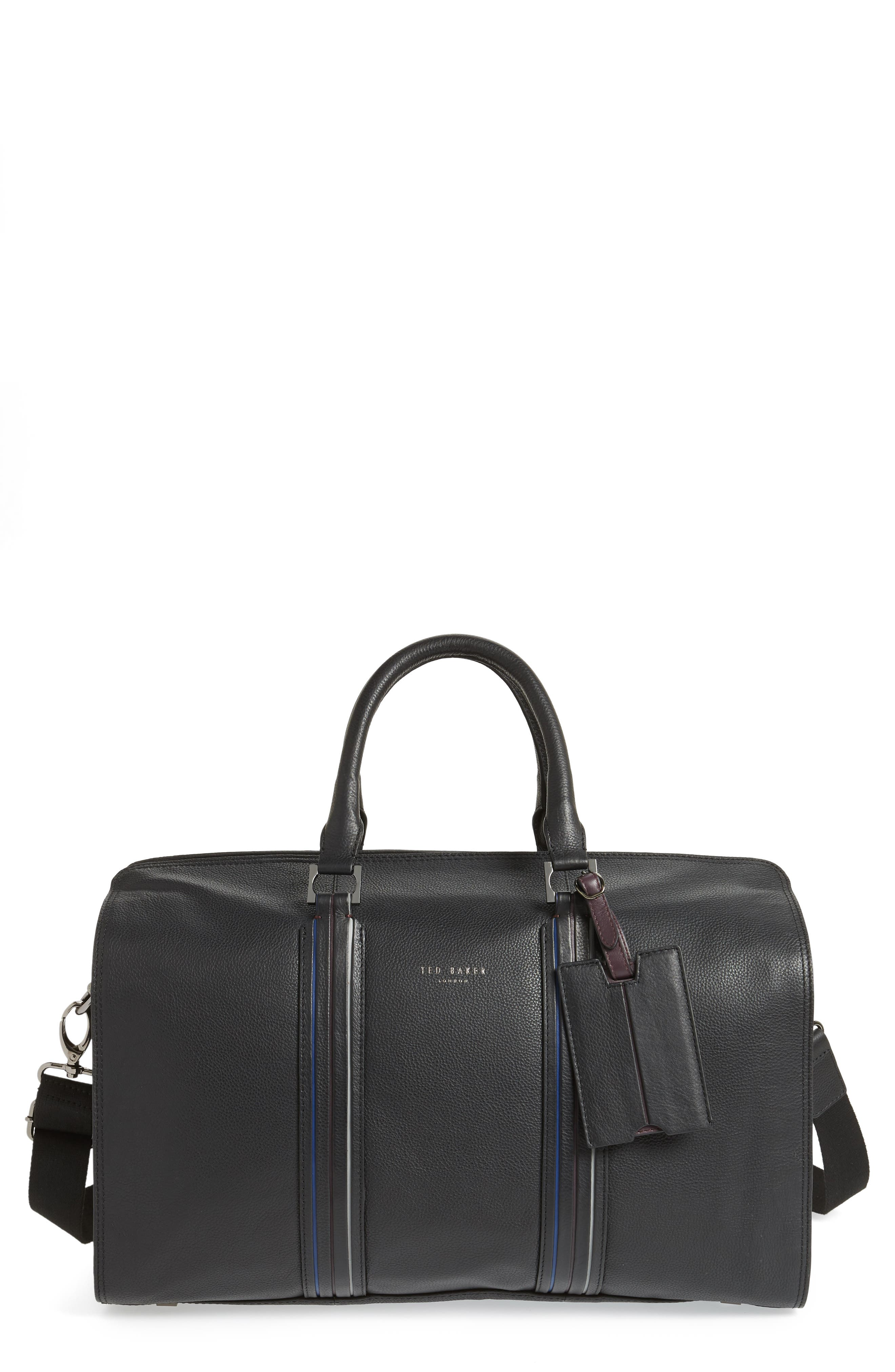 TED BAKER LONDON Geeves Stripe Leather Duffel Bag, Main, color, 001