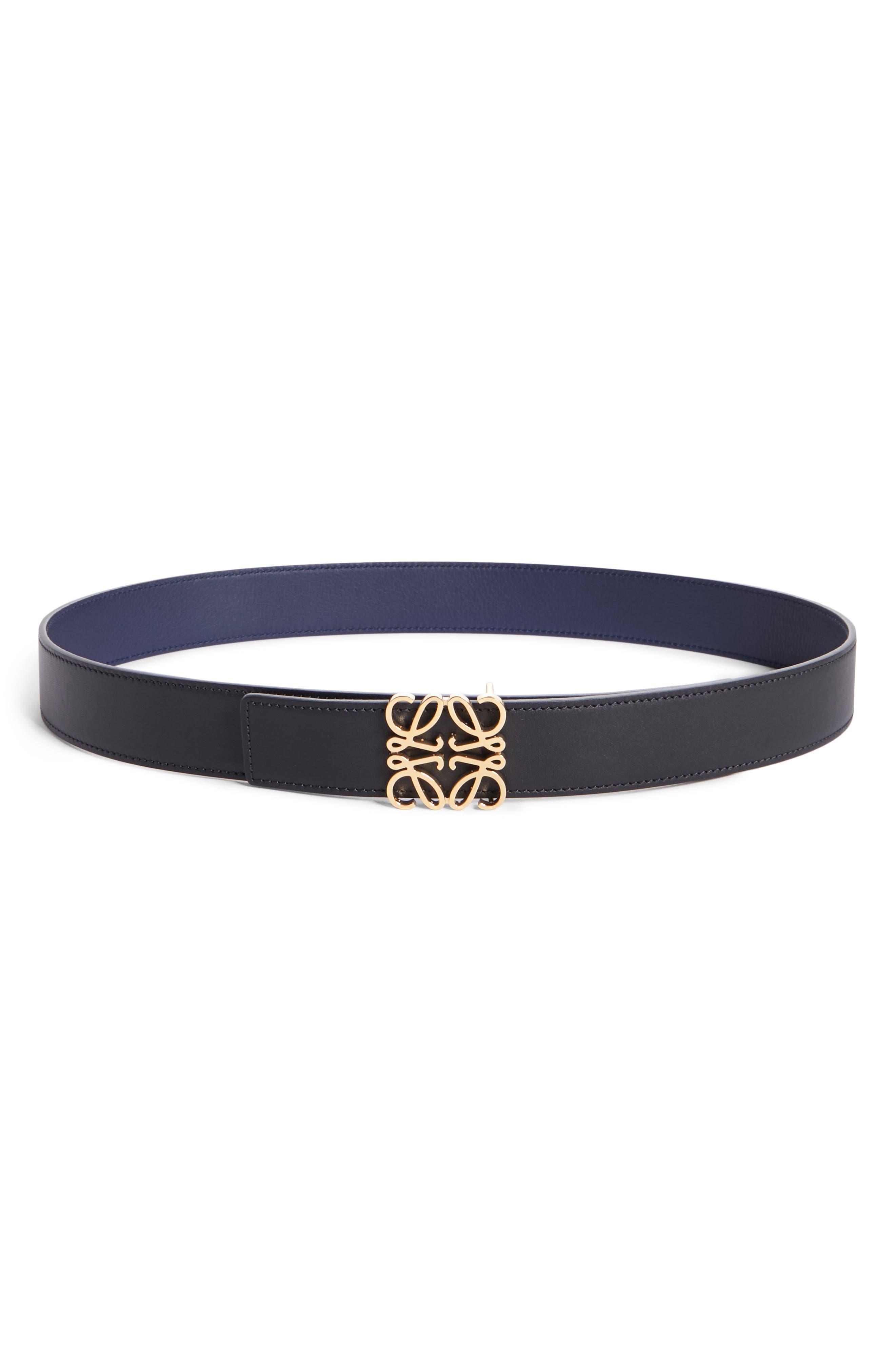 Loewe Anagram Logo Calfskin Leather Belt, Black/ Gold/ Navy