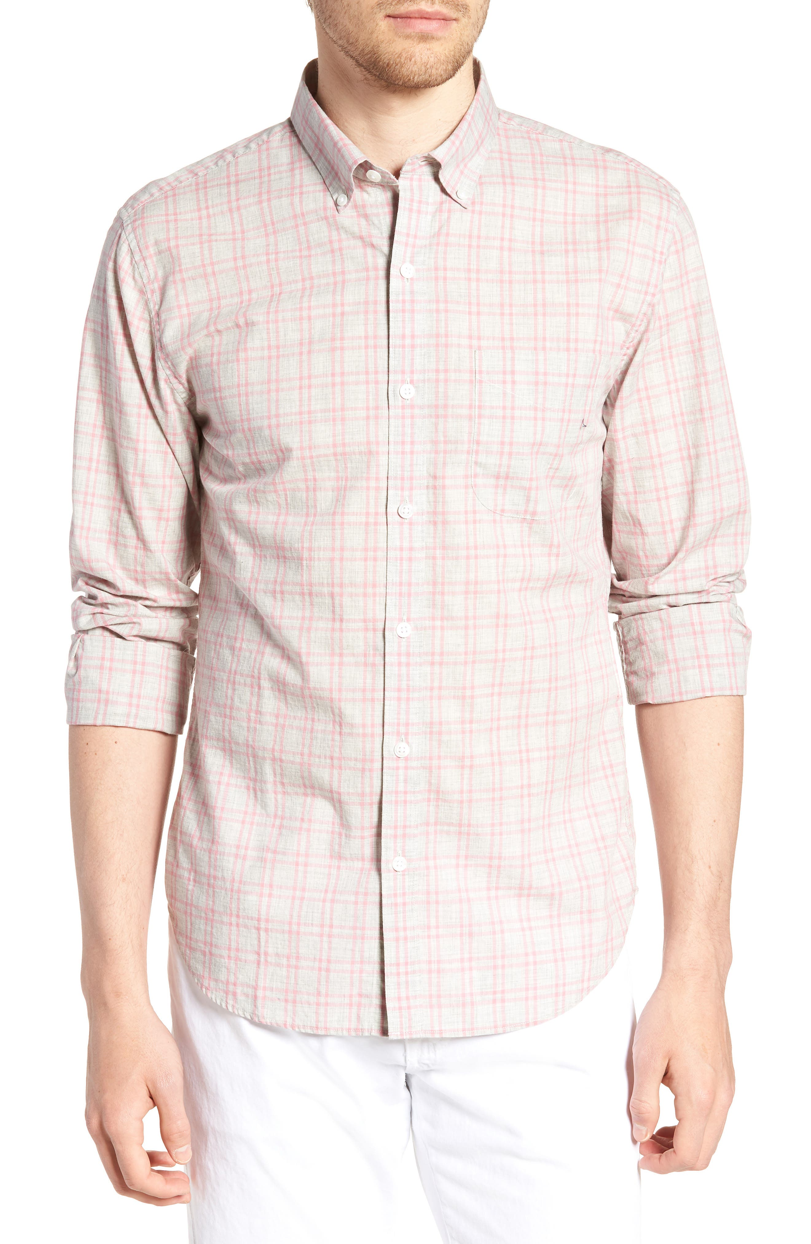 Summerweight Slim Fit Check Sport Shirt,                         Main,                         color, 020