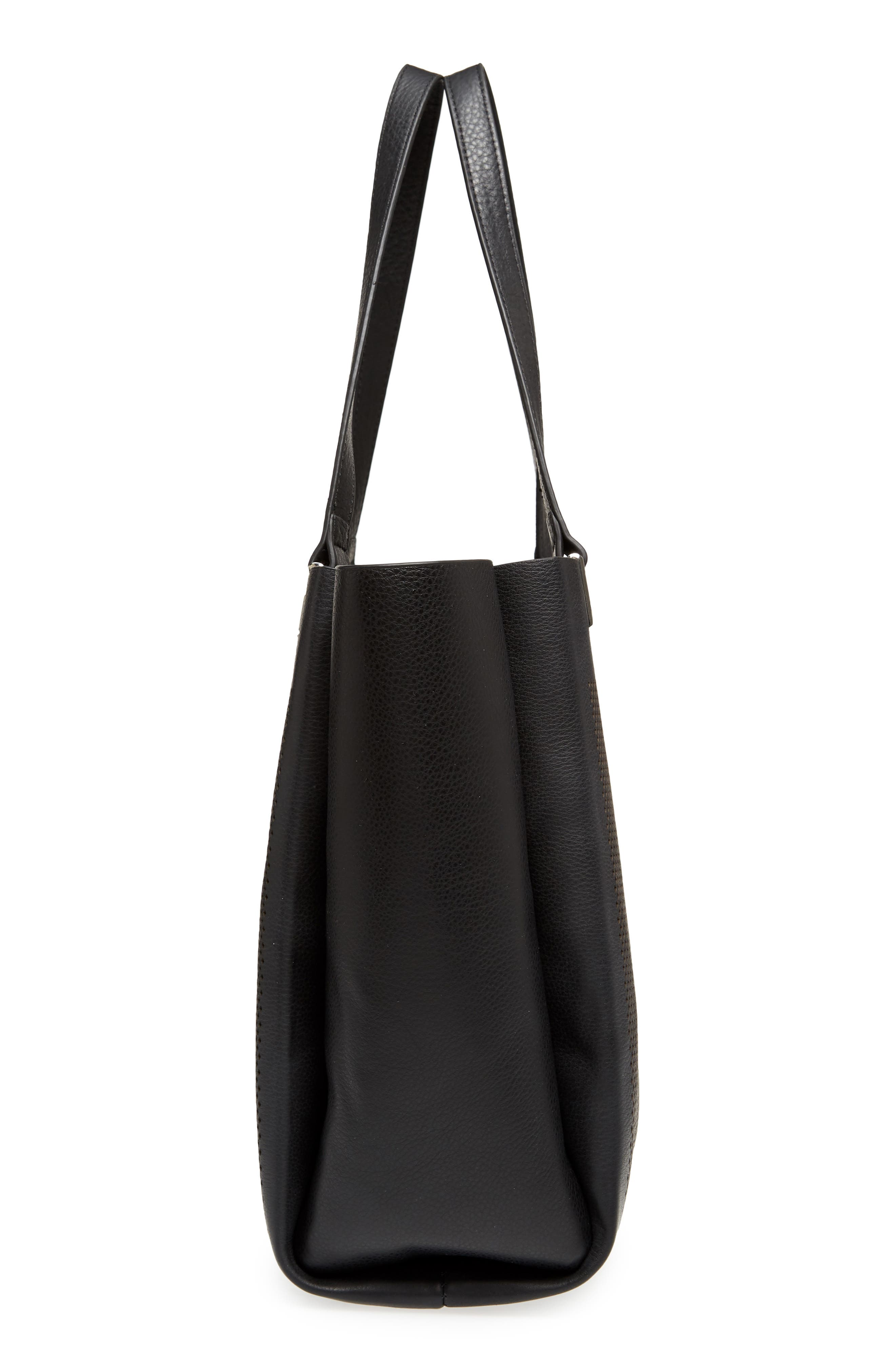 Beatt Perforated Leather Tote,                             Alternate thumbnail 5, color,                             001