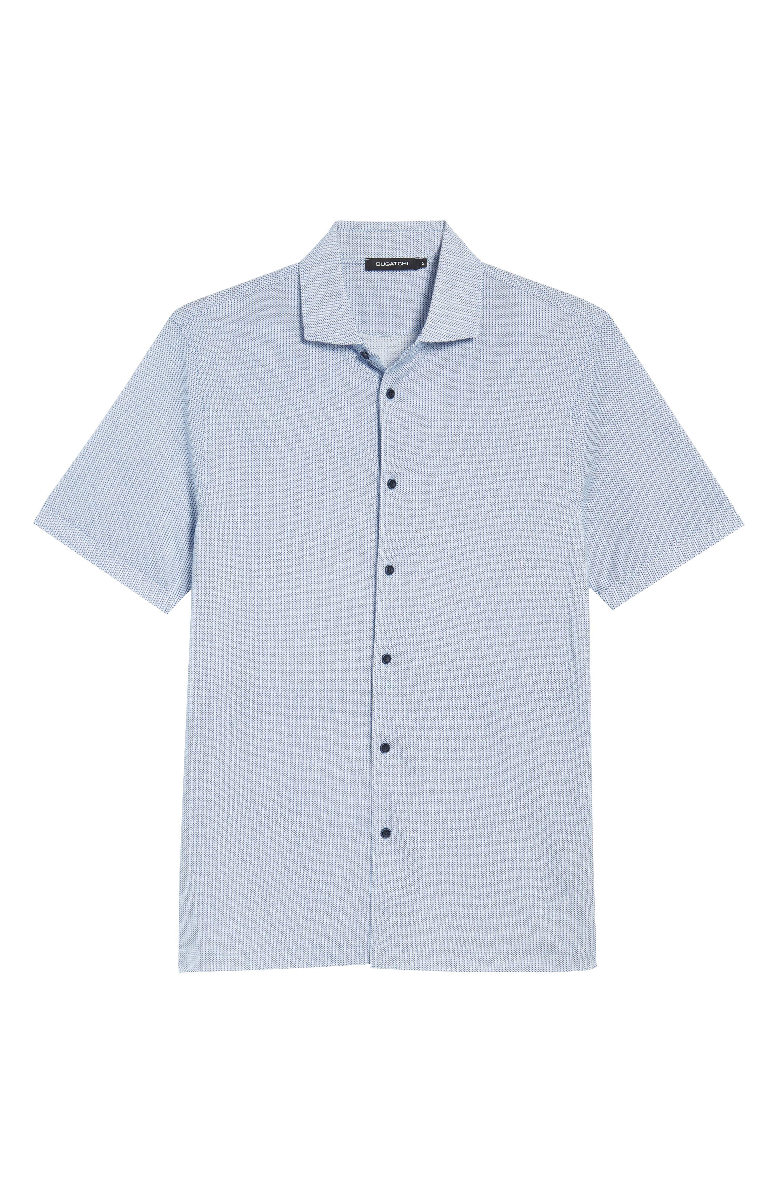 BUGATCHI,                             Shaped Fit Microprint Sport Shirt,                             Alternate thumbnail 6, color,                             CLASSIC BLUE
