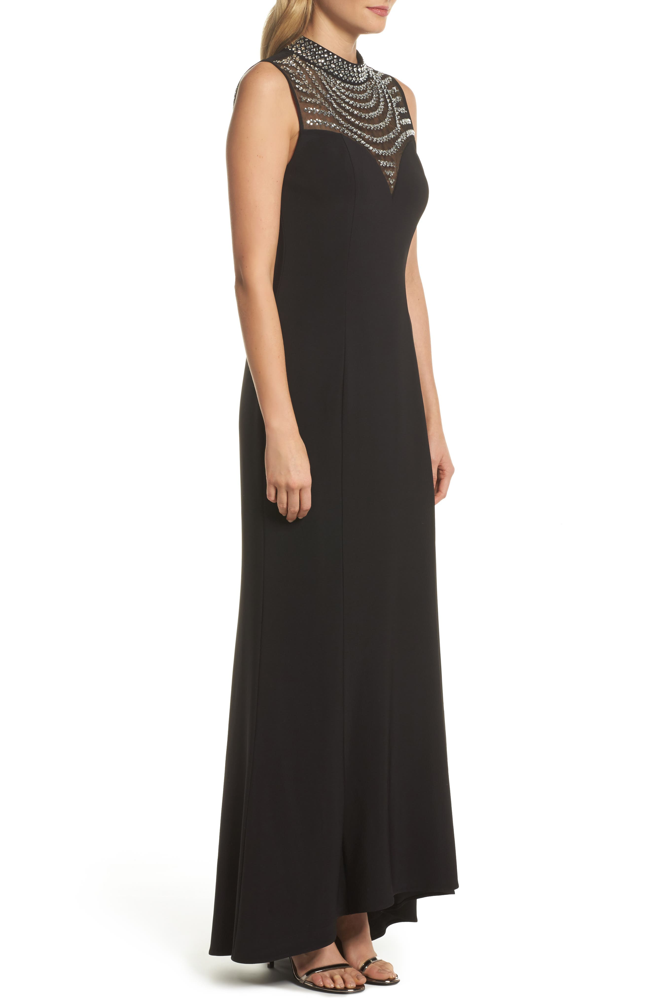 Beaded Illusion Mock Neck Gown,                             Alternate thumbnail 3, color,                             001