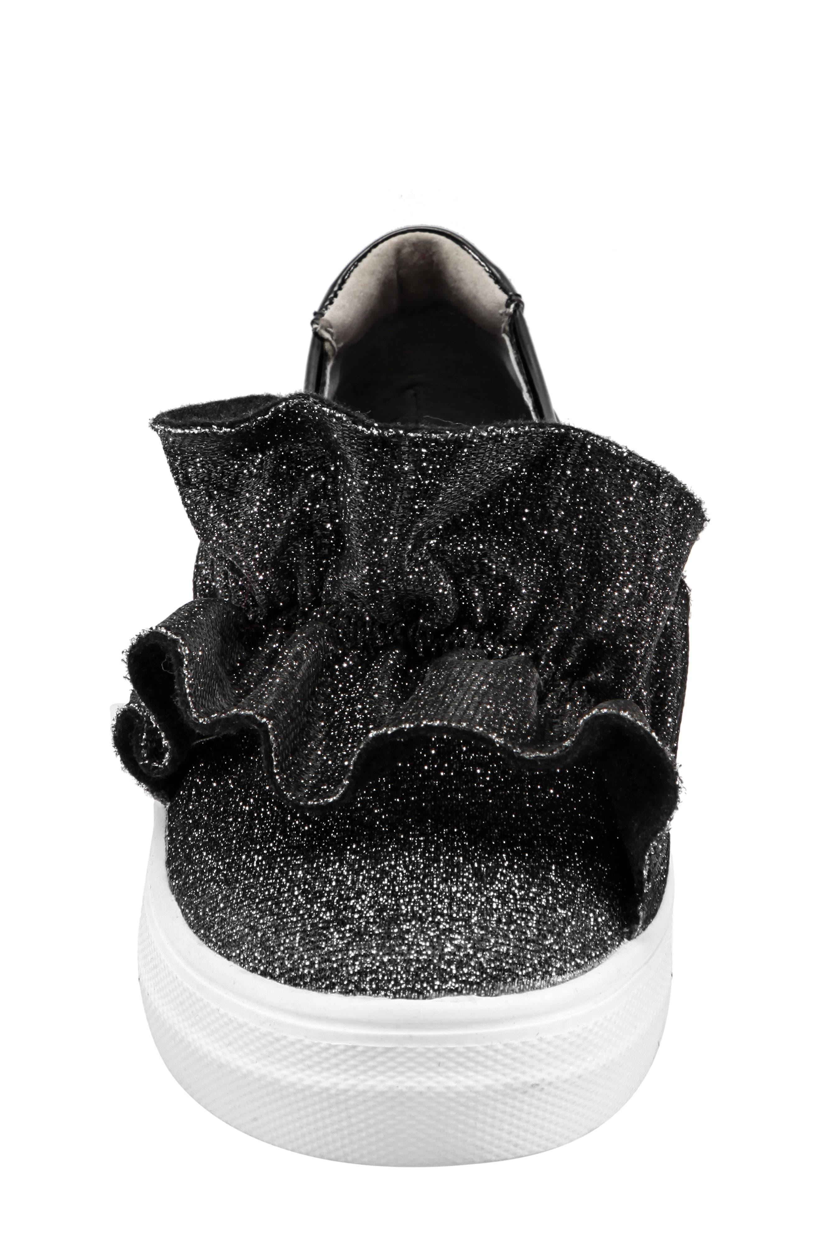 Ivani Slip-On Sneaker,                             Alternate thumbnail 4, color,                             BLACK SPARKLE FABRIC