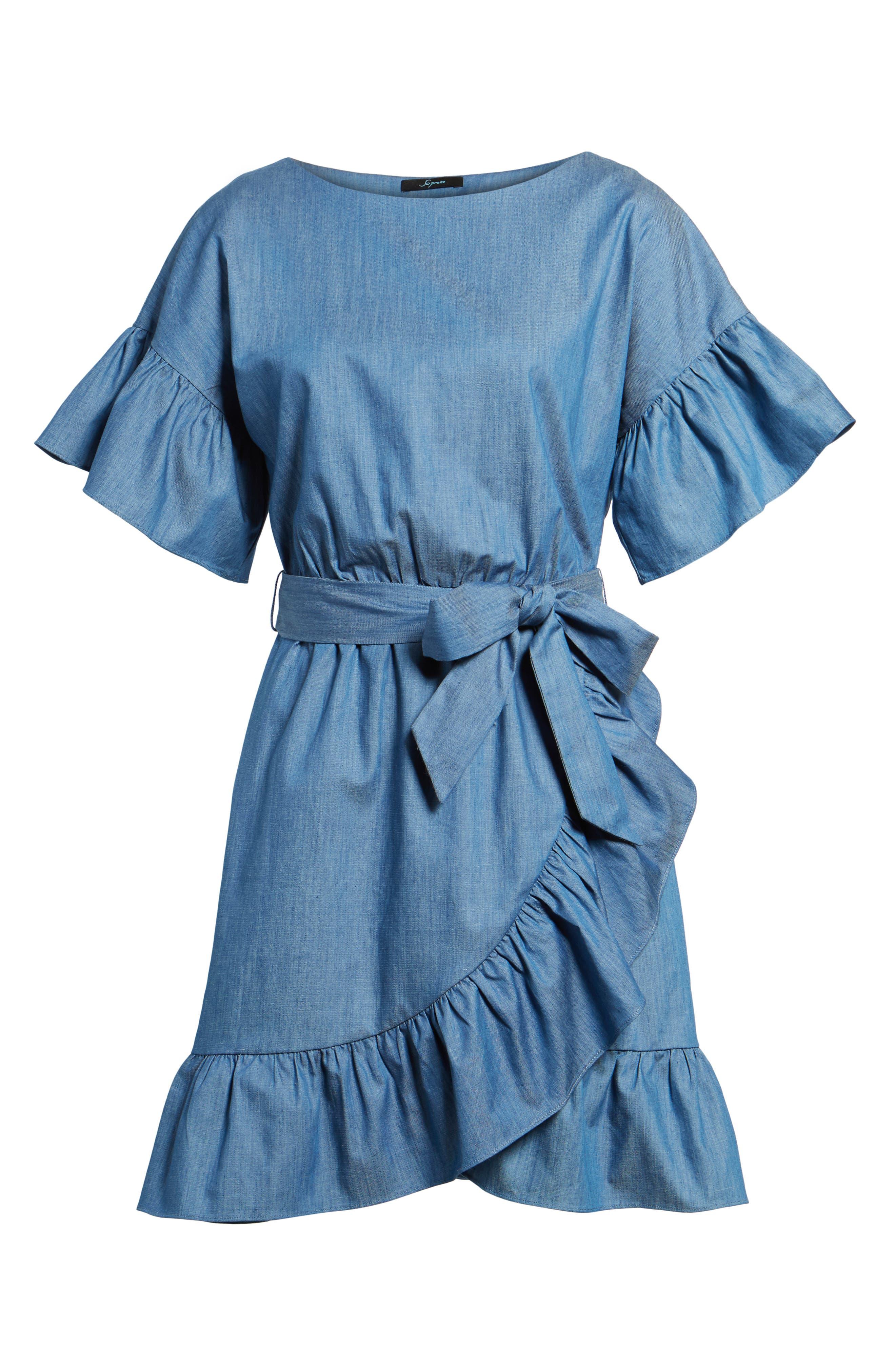 Ruffle Denim Wrap Dress,                             Alternate thumbnail 6, color,                             405