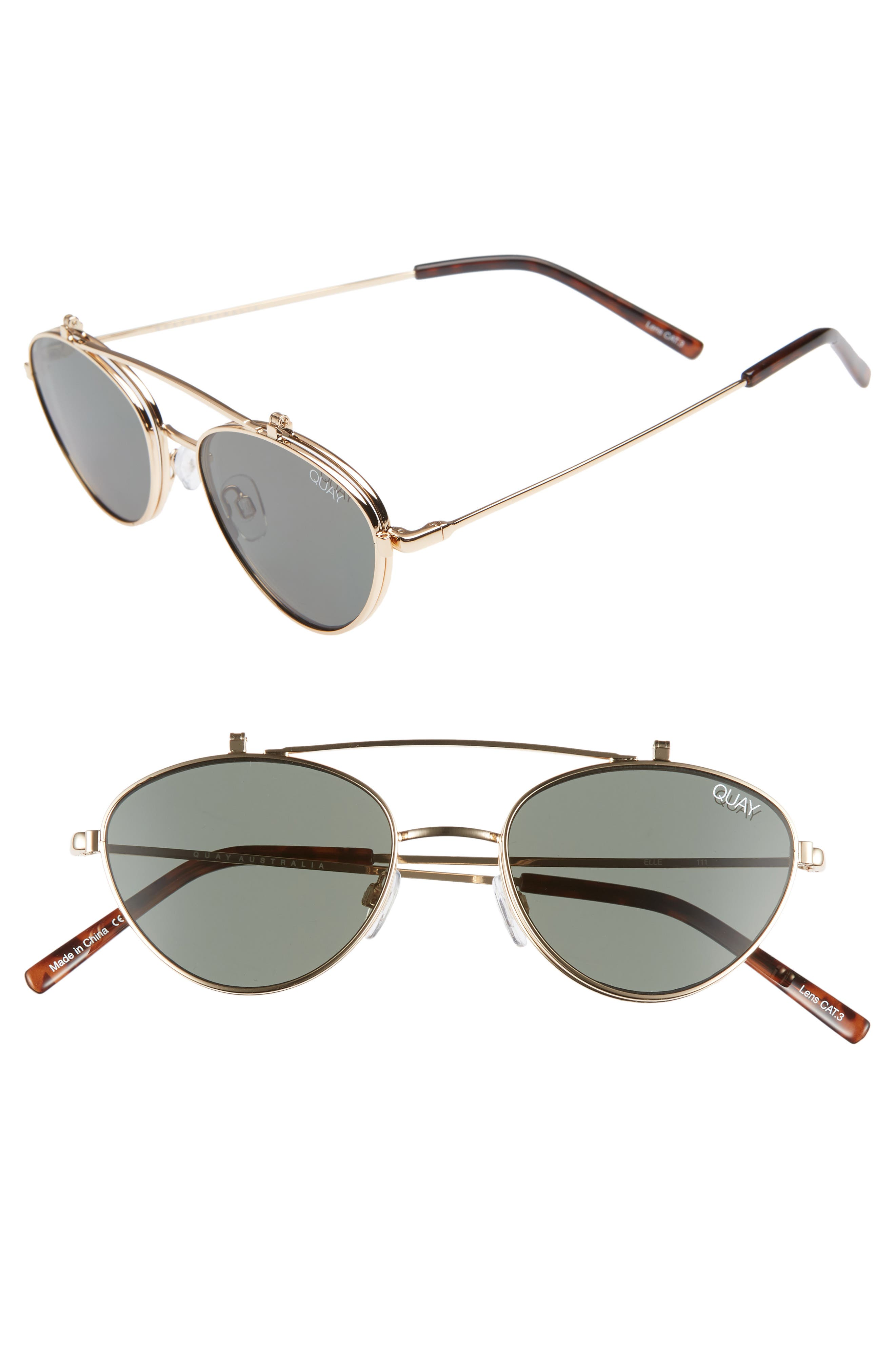 x Elle Ferguson Elle 59mm Round Sunglasses,                         Main,                         color, GOLD/ GREEN
