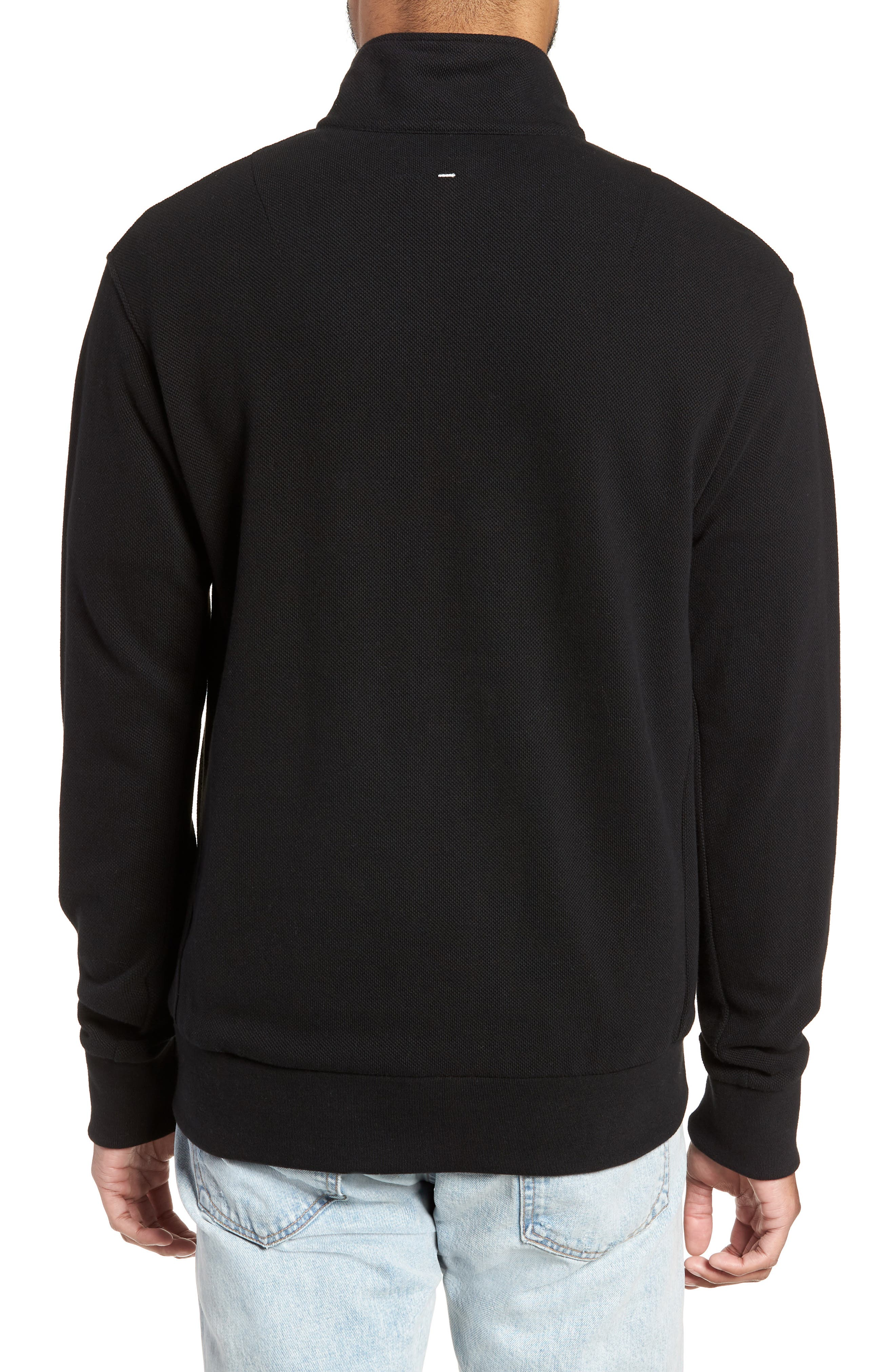 Piqué Quarter Zip Pullover,                             Alternate thumbnail 2, color,                             BLACK