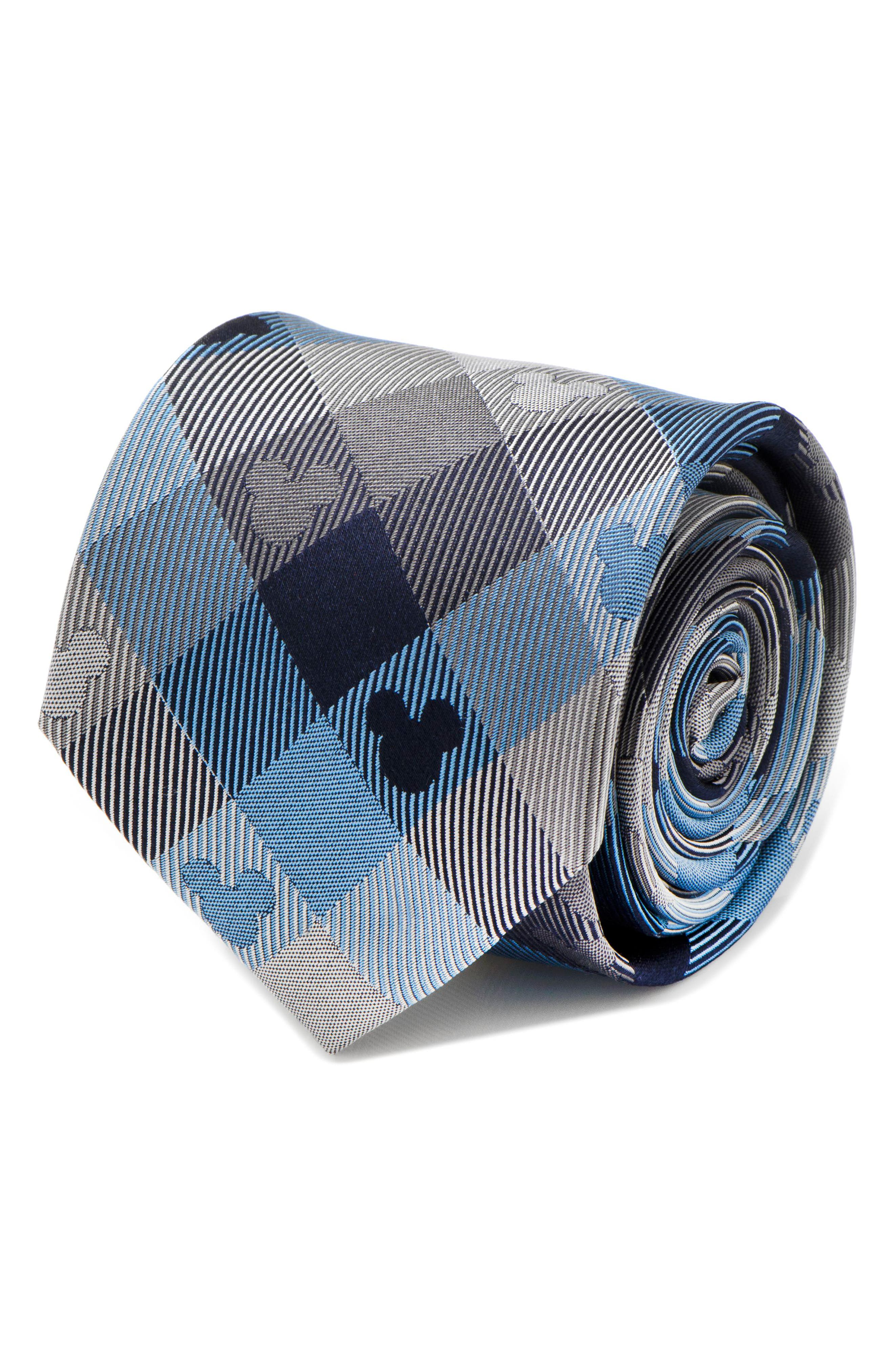 Mickey Mouse Plaid Silk Tie,                             Alternate thumbnail 5, color,                             BLUE/ GREY