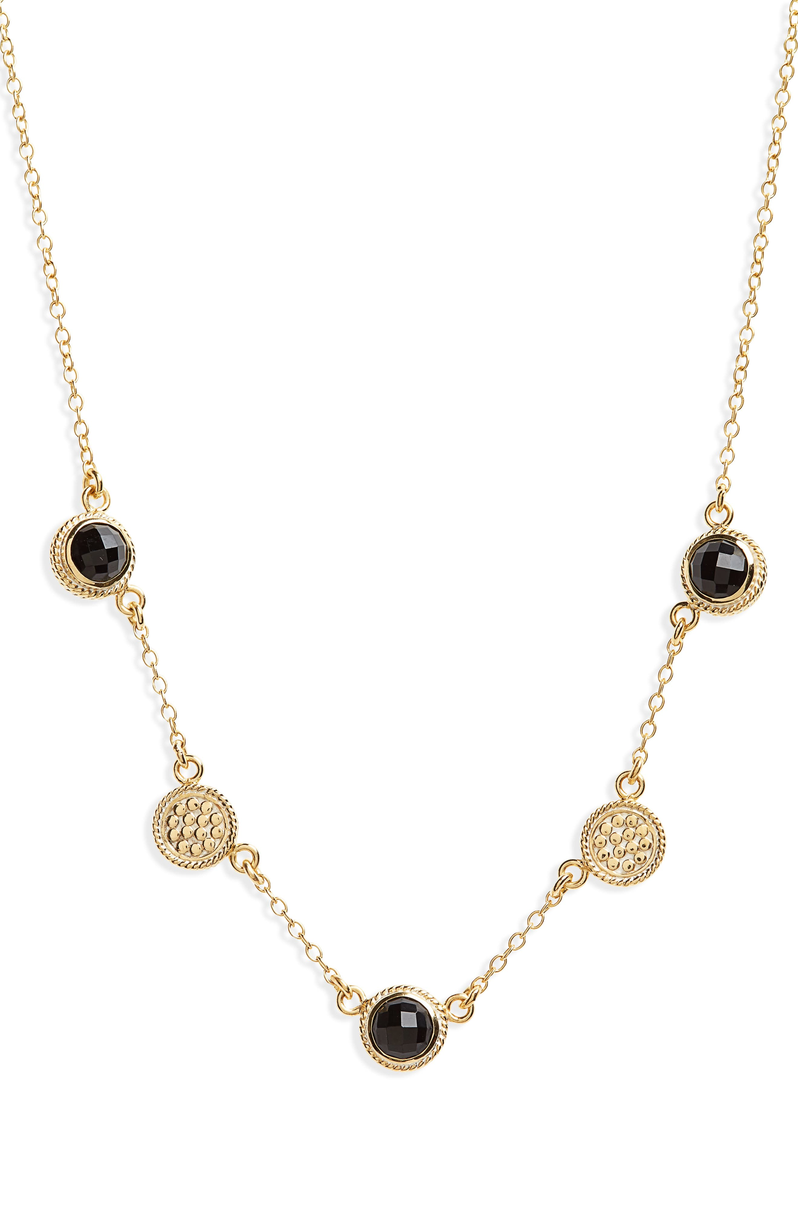 Semiprecious Stone Station Necklace,                         Main,                         color, 002