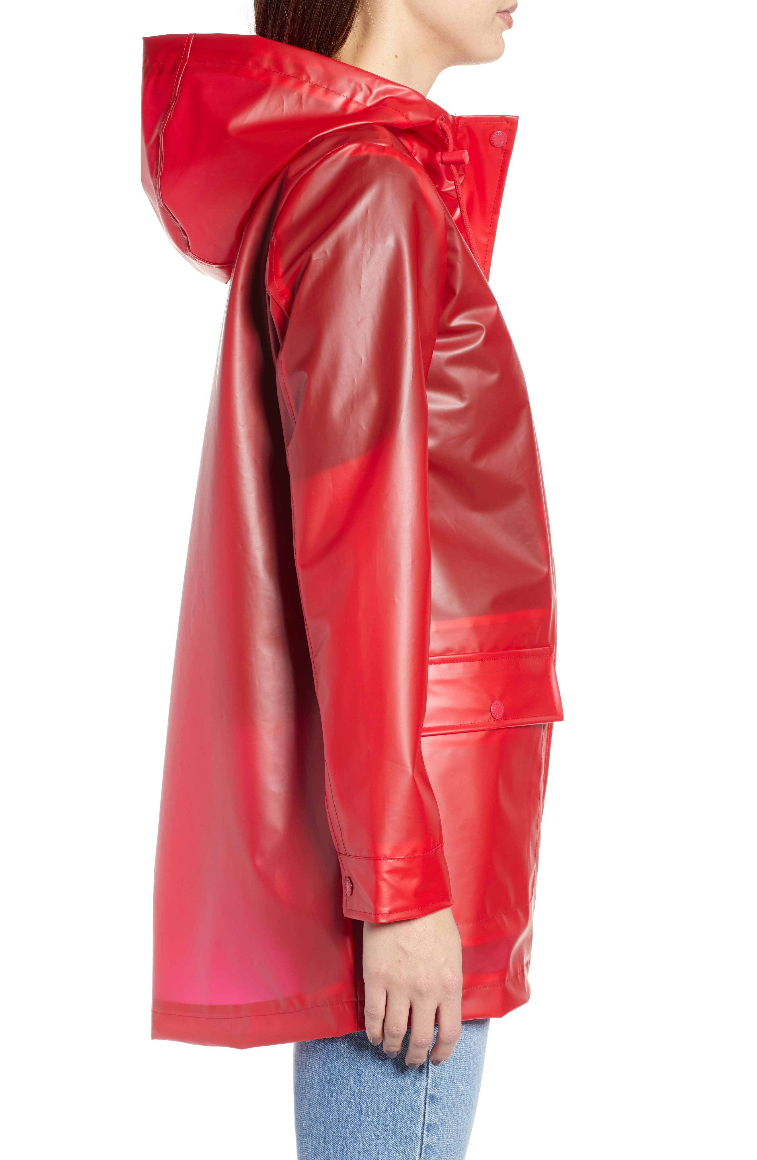Translucent Rain Jacket,                             Alternate thumbnail 3, color,                             RED LYCHEE