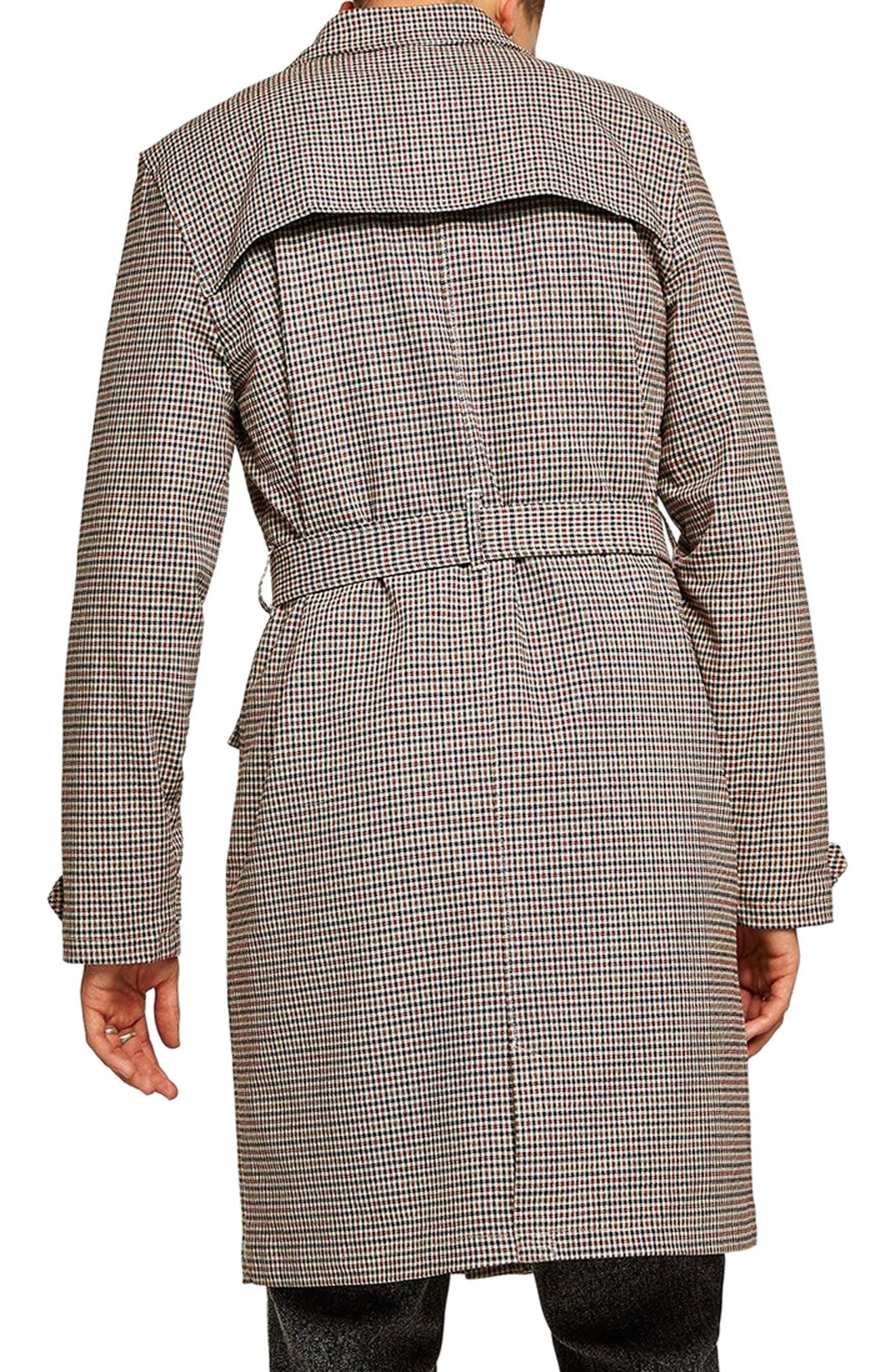 Houndstooth Trench Coat,                             Alternate thumbnail 2, color,                             BROWN MULTI