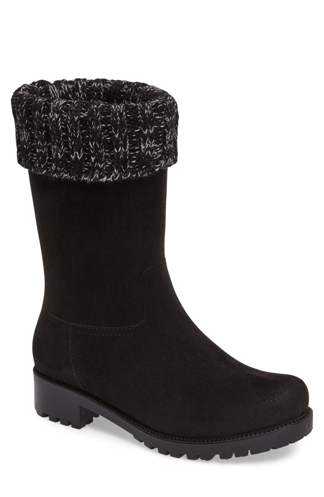 Shelby Knit Cuff Waterproof Boot,                             Main thumbnail 1, color,                             BLACK