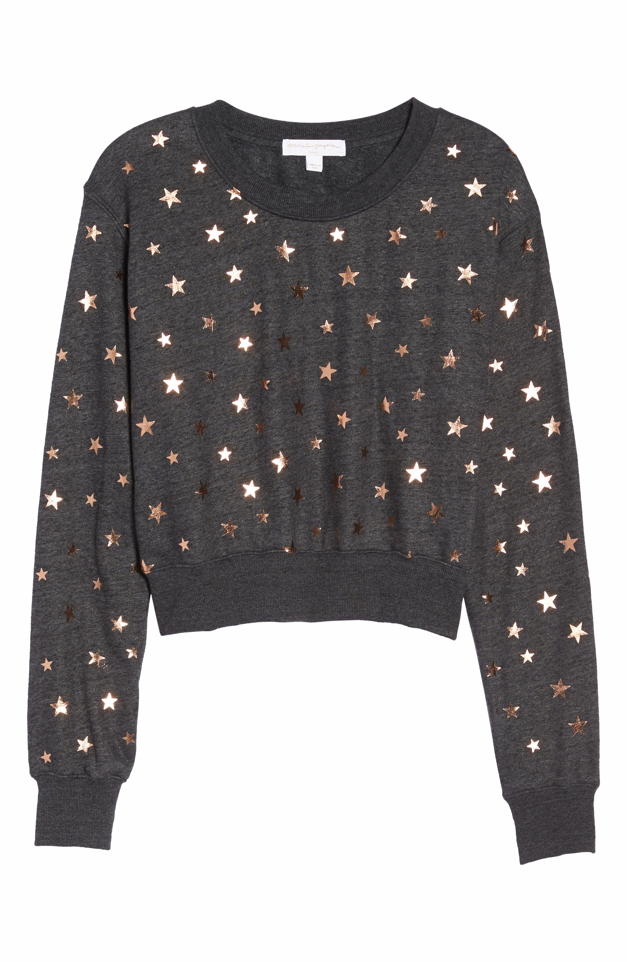 Stars Crop Pullover,                             Alternate thumbnail 7, color,                             STARRY VIBES - BLACK