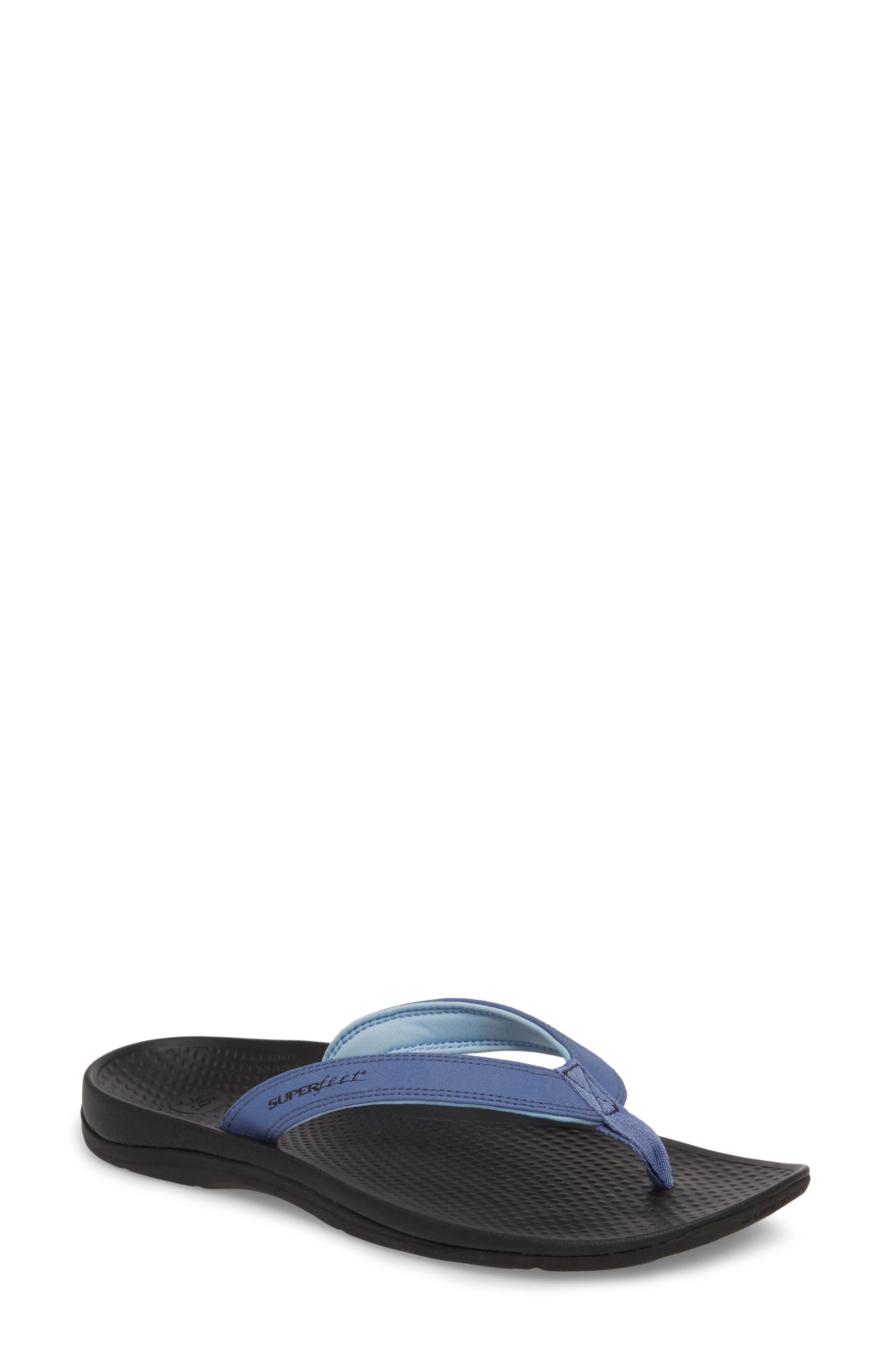 Outside 2.0 Flip Flop,                         Main,                         color, BLUE FAUX LEATHER