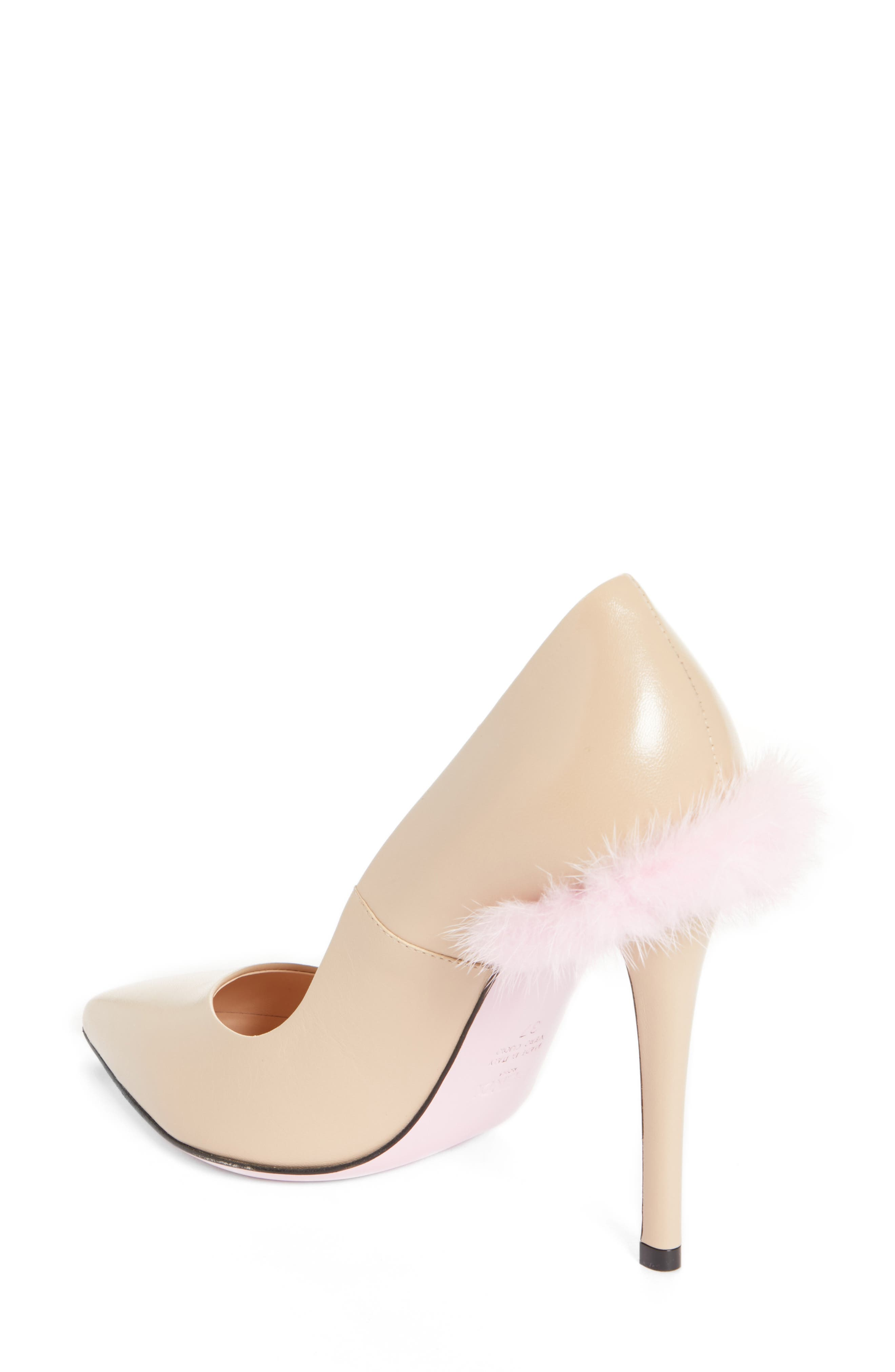Duo Pointy Toe Pump with Genuine Mink Trim,                             Alternate thumbnail 4, color,