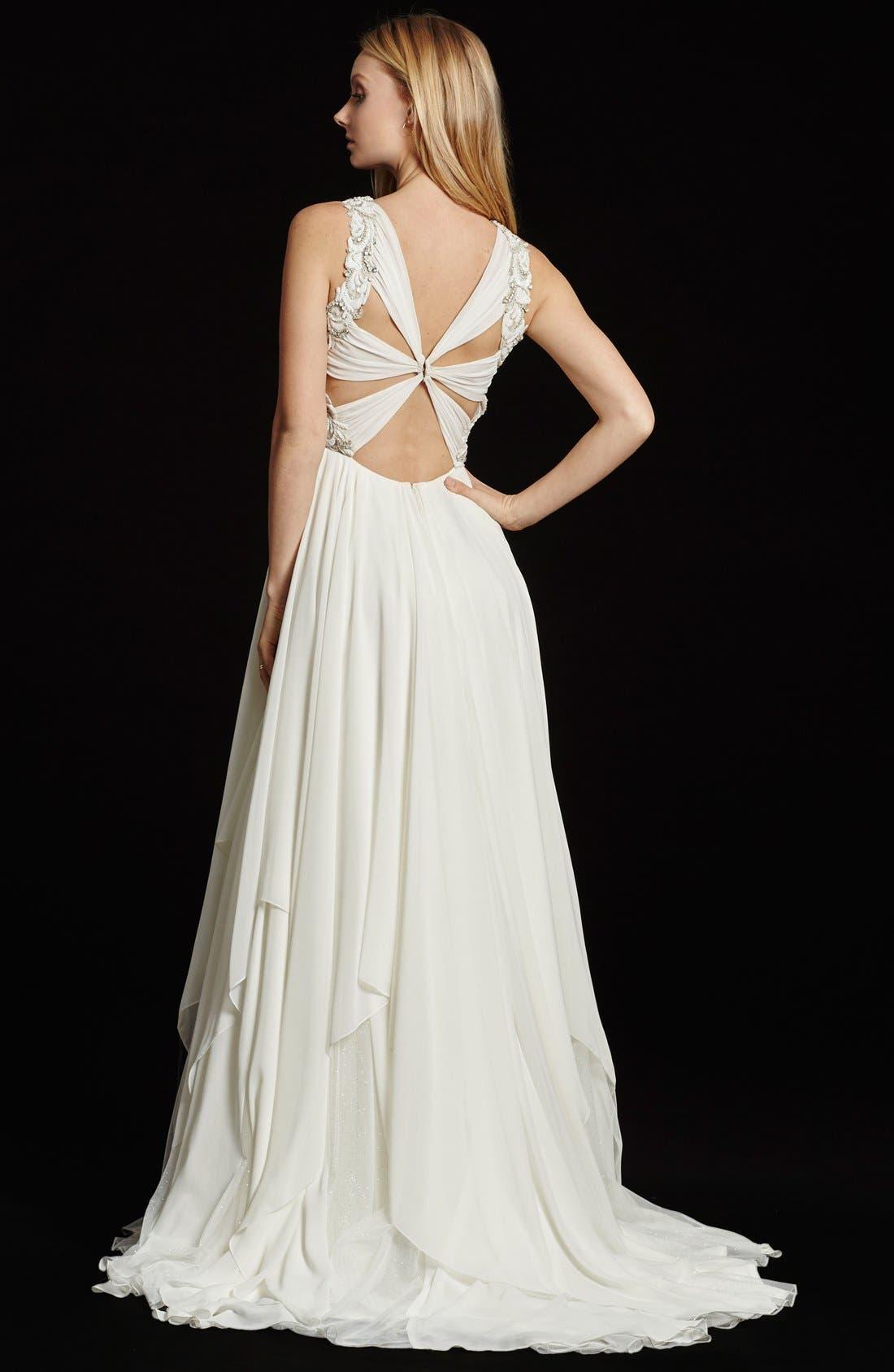 Gwen Sleeveless Grecian Draped Bodice Chiffon Gown,                             Alternate thumbnail 3, color,                             IVORY