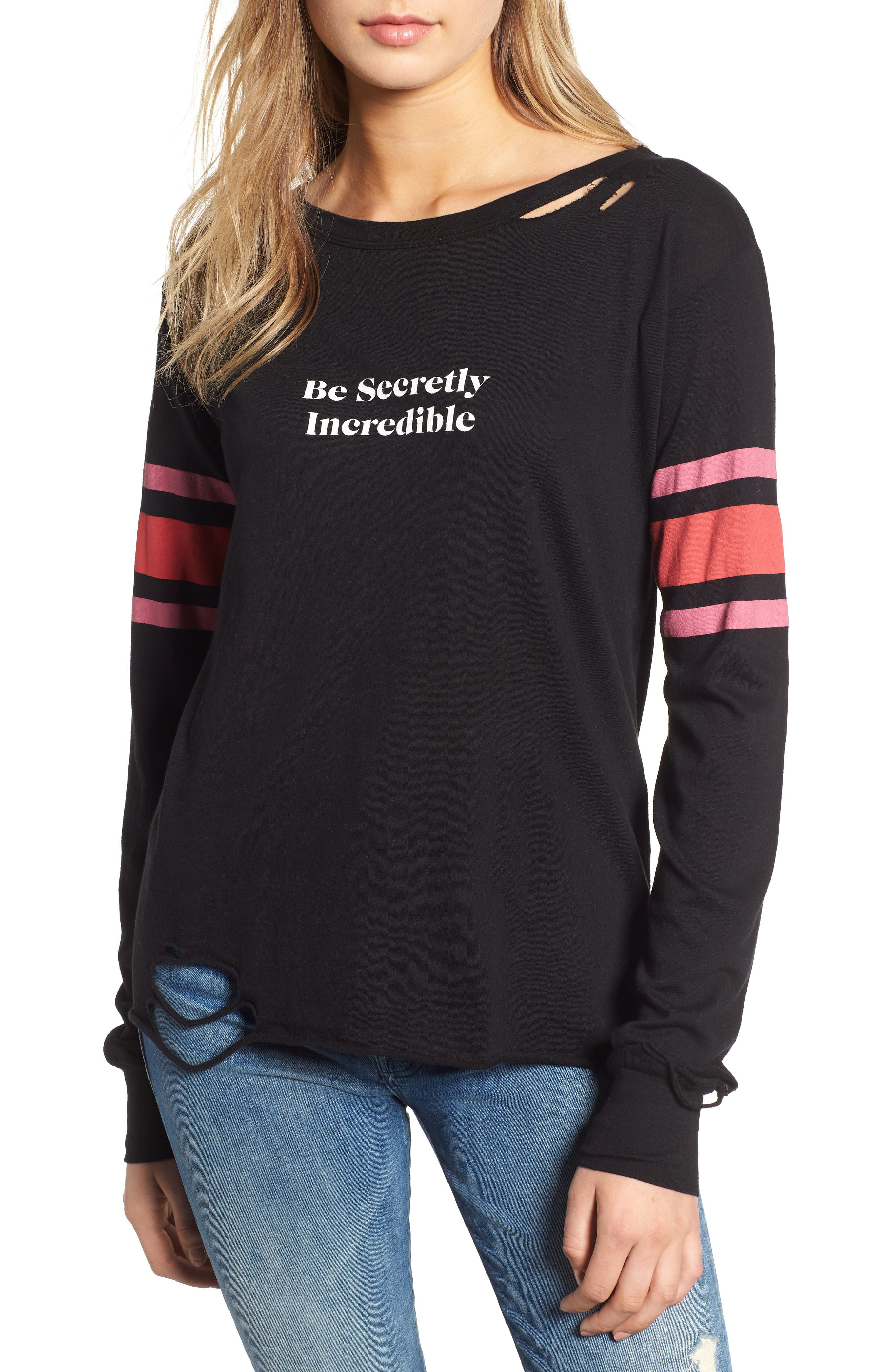 Stellar - Be Secretly Incredible Ripped Tee,                         Main,                         color, CLEAN BLACK