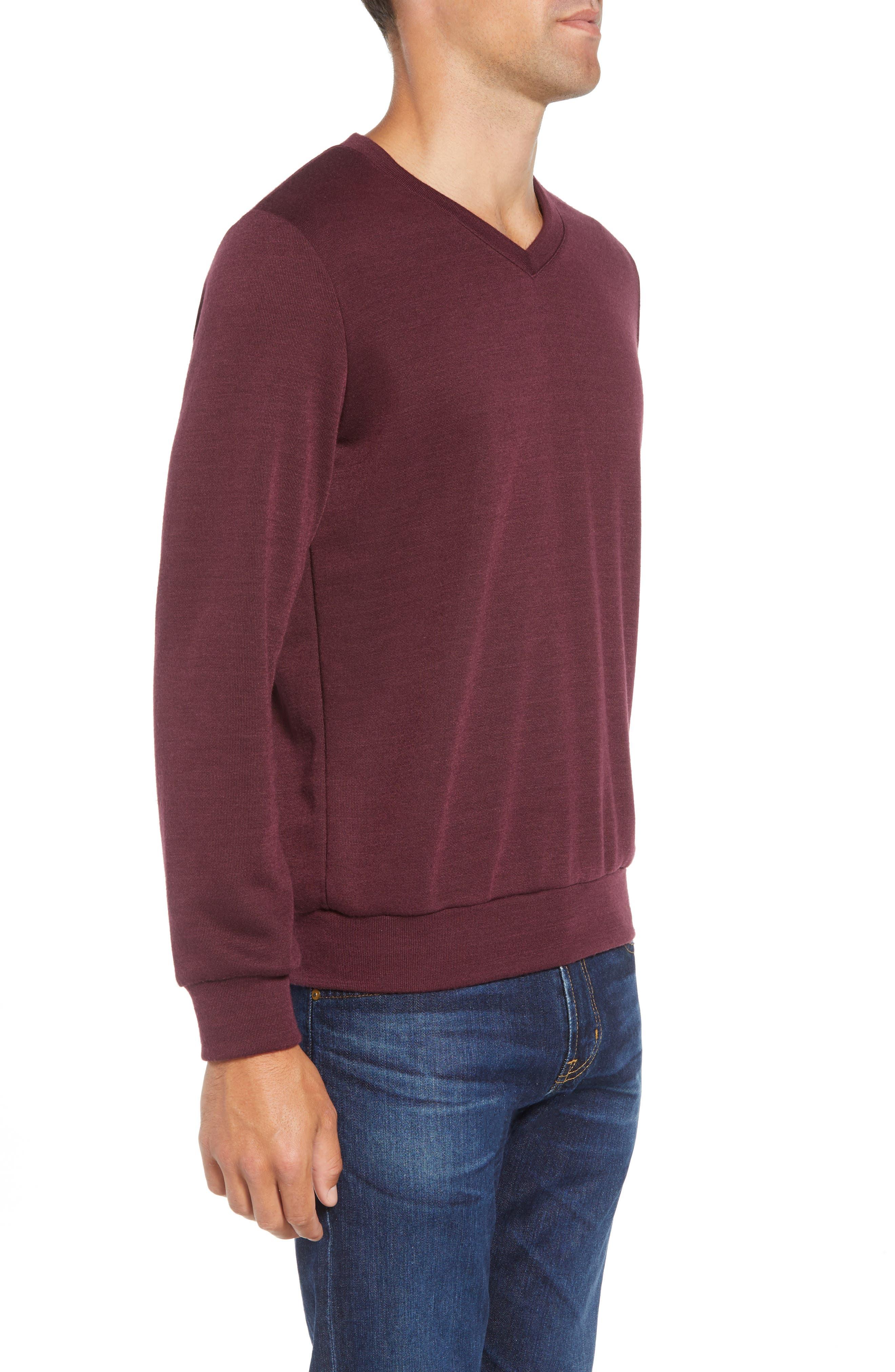 Pomerelle V-Neck Performance Sweater,                             Alternate thumbnail 3, color,                             MERLOT