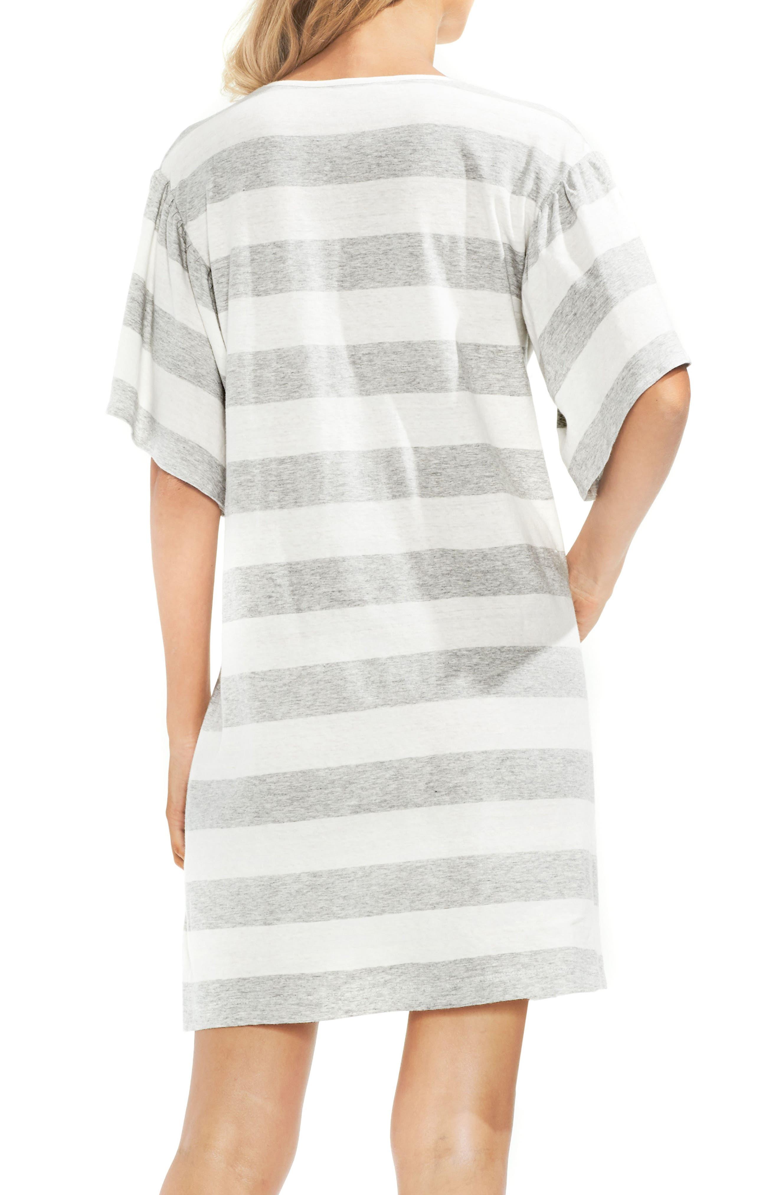 Ruffle Sleeve Stripe T-Shirt Dress,                         Main,                         color, 050