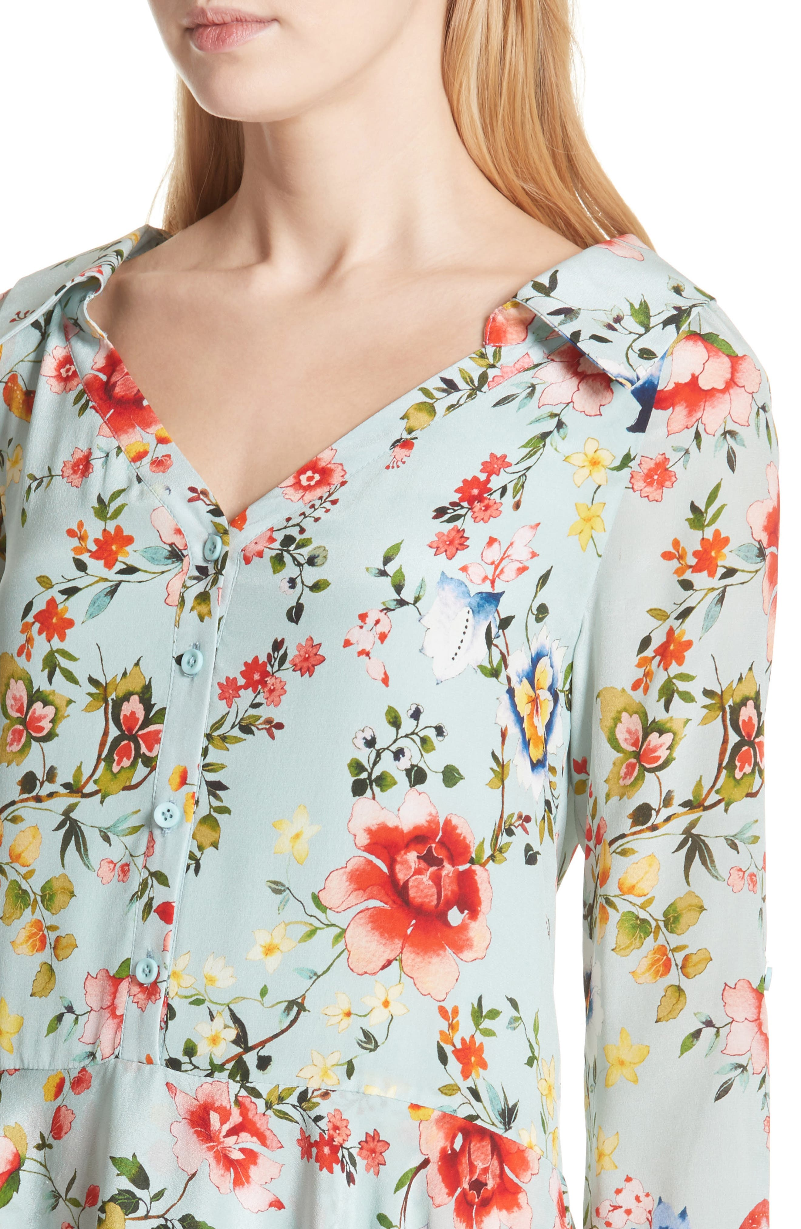 Moore Floral Silk Tunic Dress,                             Alternate thumbnail 4, color,                             474