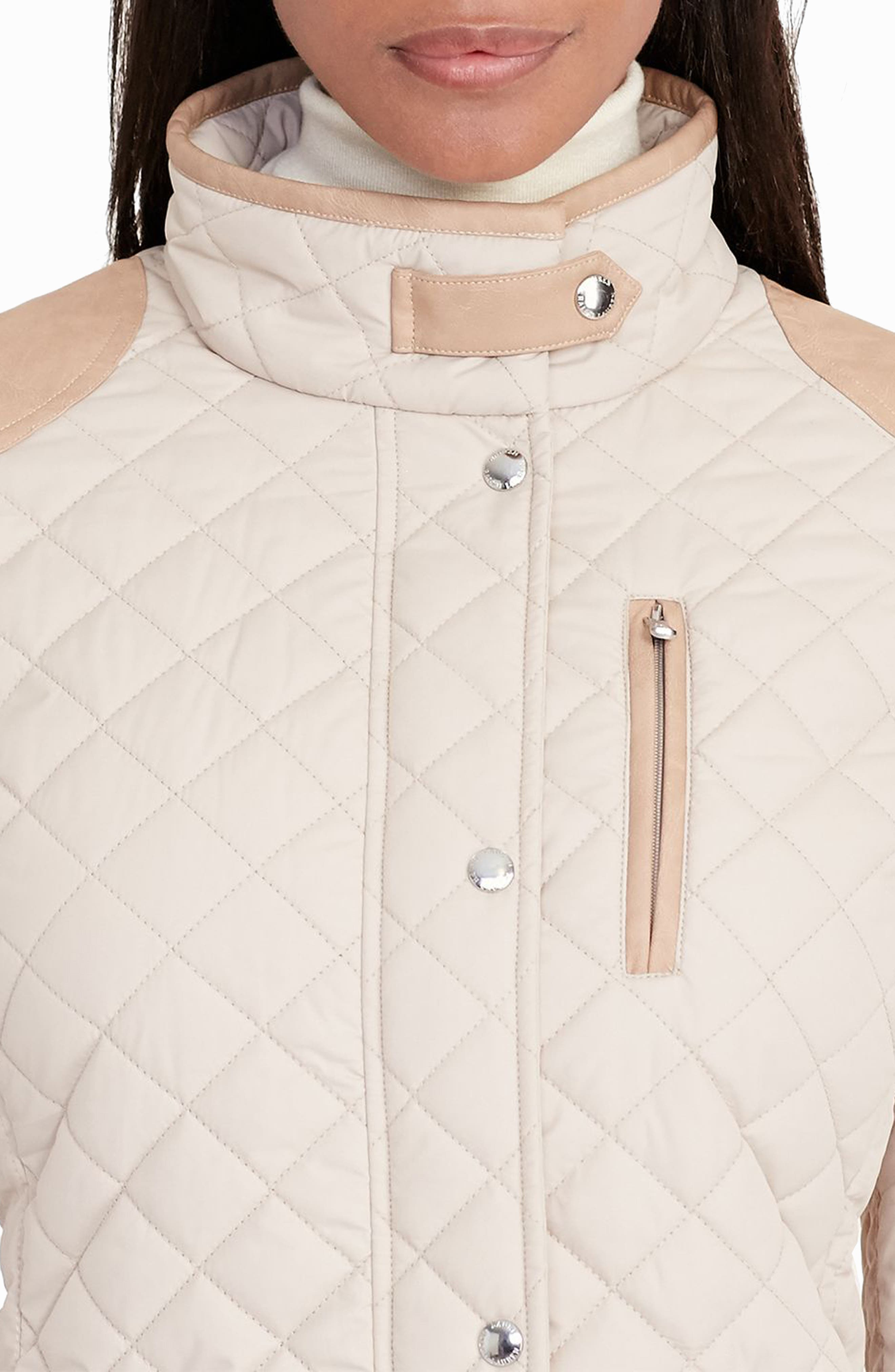 Faux Leather Trim Quilted Jacket,                             Alternate thumbnail 18, color,