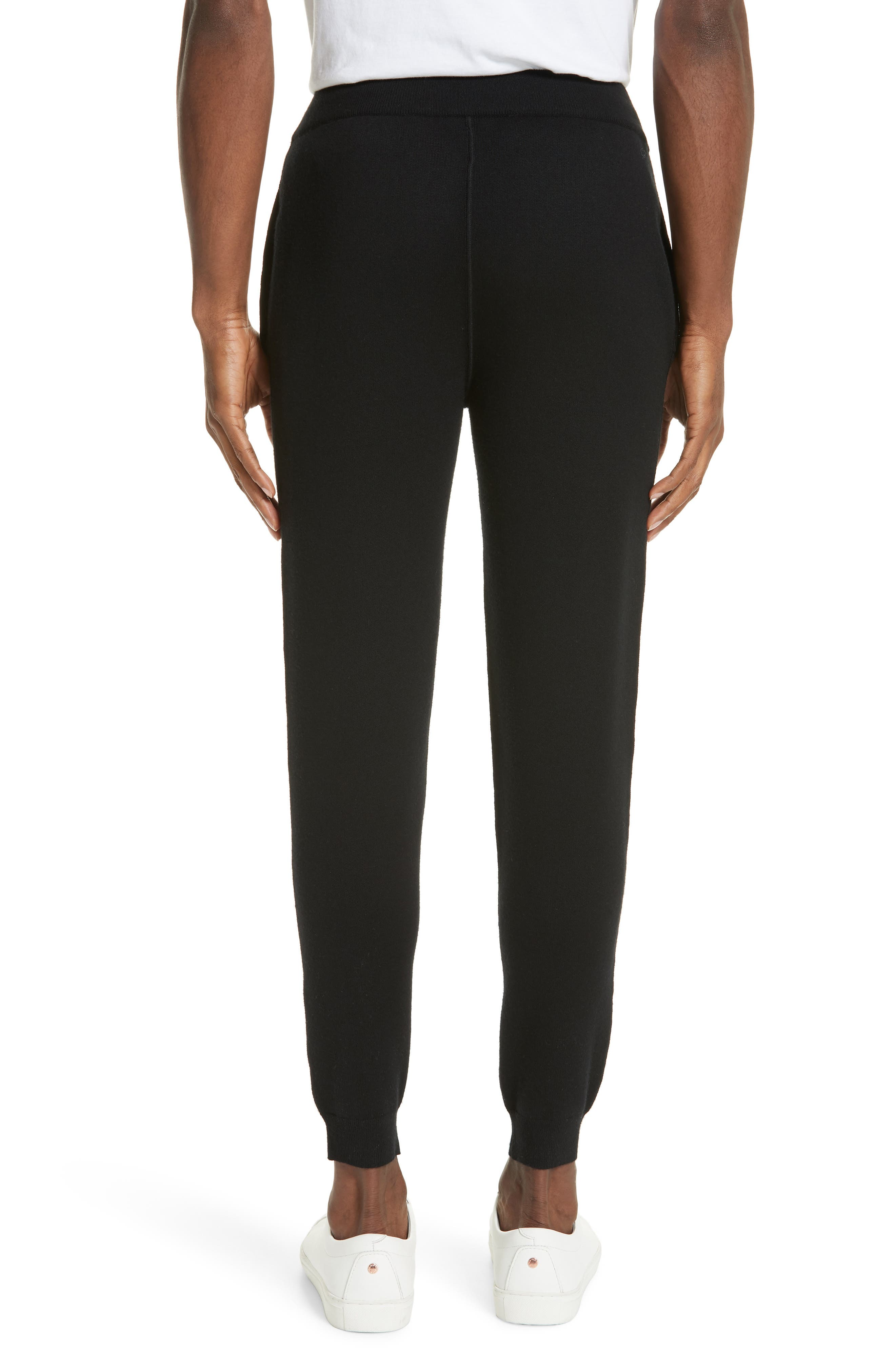 Trim Fit French Terry Wool Jogger Pants,                             Alternate thumbnail 2, color,                             BLACK