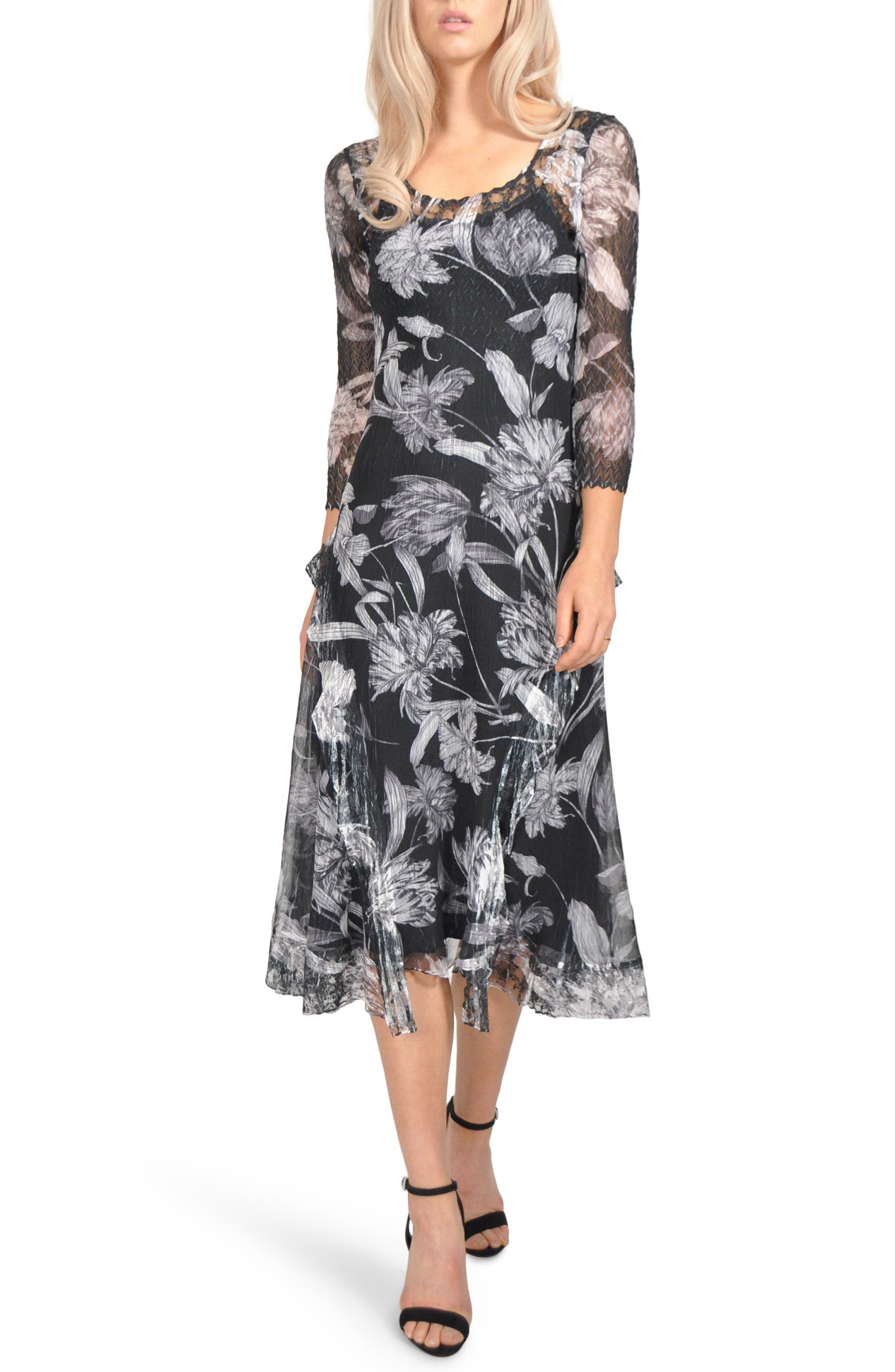 Floral Chiffon A-Line Dress, Main, color, GOTHIC BLOOM